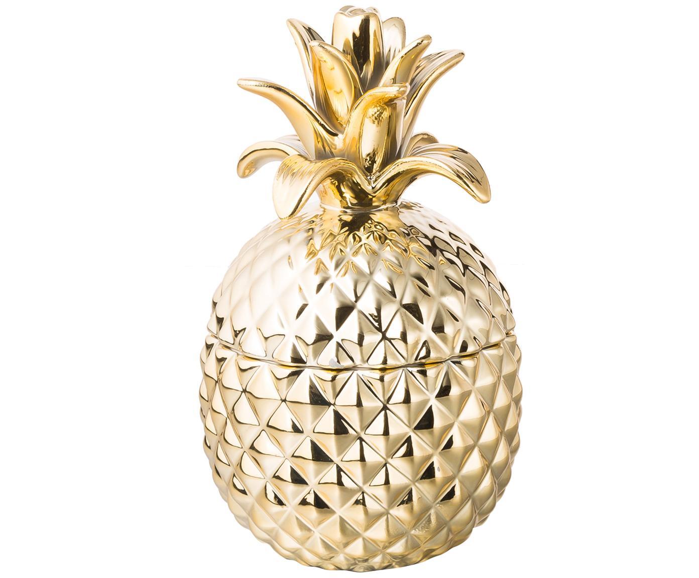 Aufbewahrungsdosen-Set Pineapple, 2-tlg., Keramik, Außen: Goldfarben, glänzend<br>Innen: Weiß, Sondergrößen