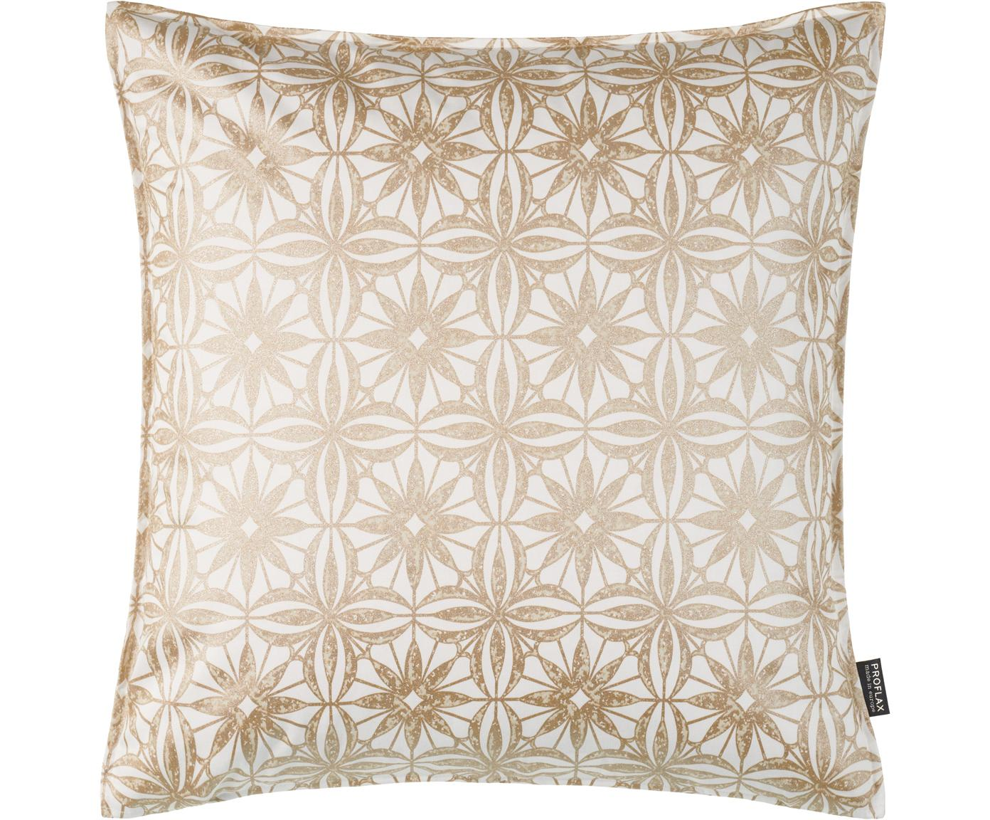 Kissenhülle Alexis mit Muster in Gold- und Beigetönen, Baumwolle, Weiß, Beige, Goldfarben, 50 x 50 cm