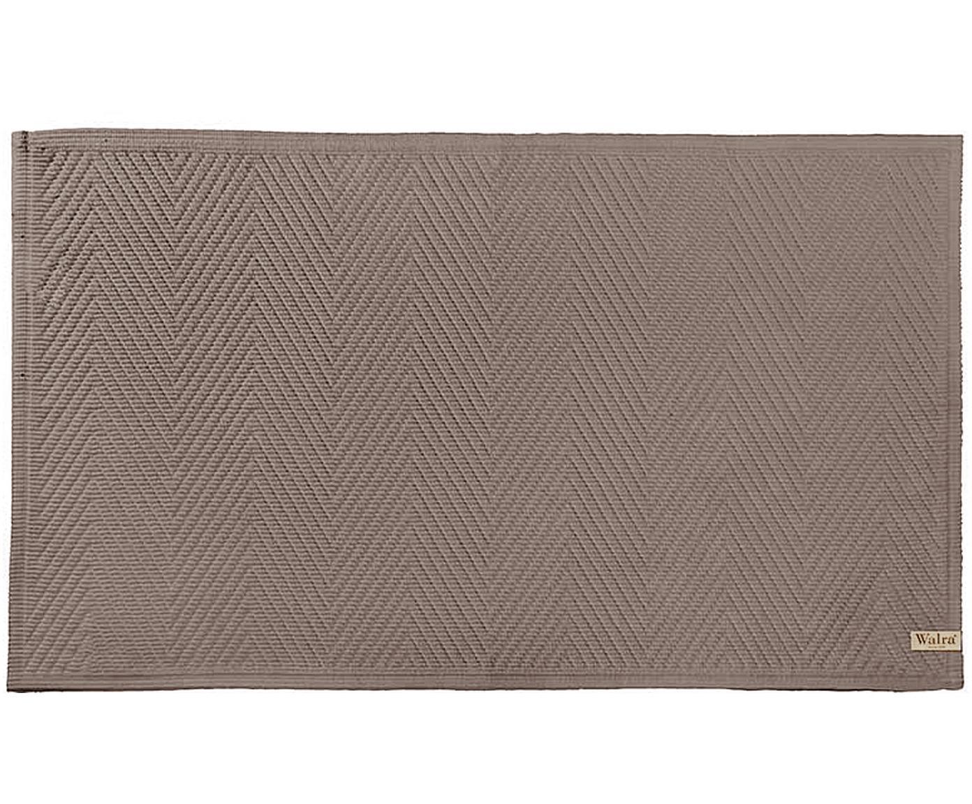 Zachte katoenen badmat met visgraatmotief, Katoen, Taupe, 60 x 100 cm