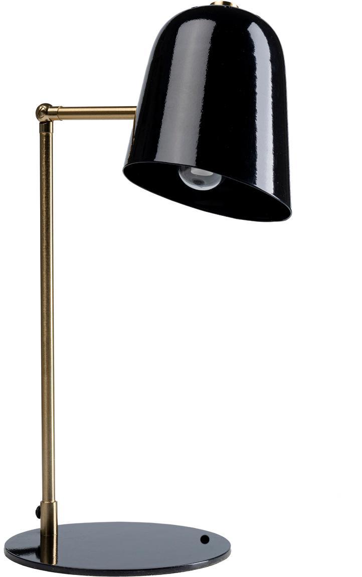 Lampa biurkowa retro Clive, Odcienie mosiądzu, czarny, S 27 x W 56 cm