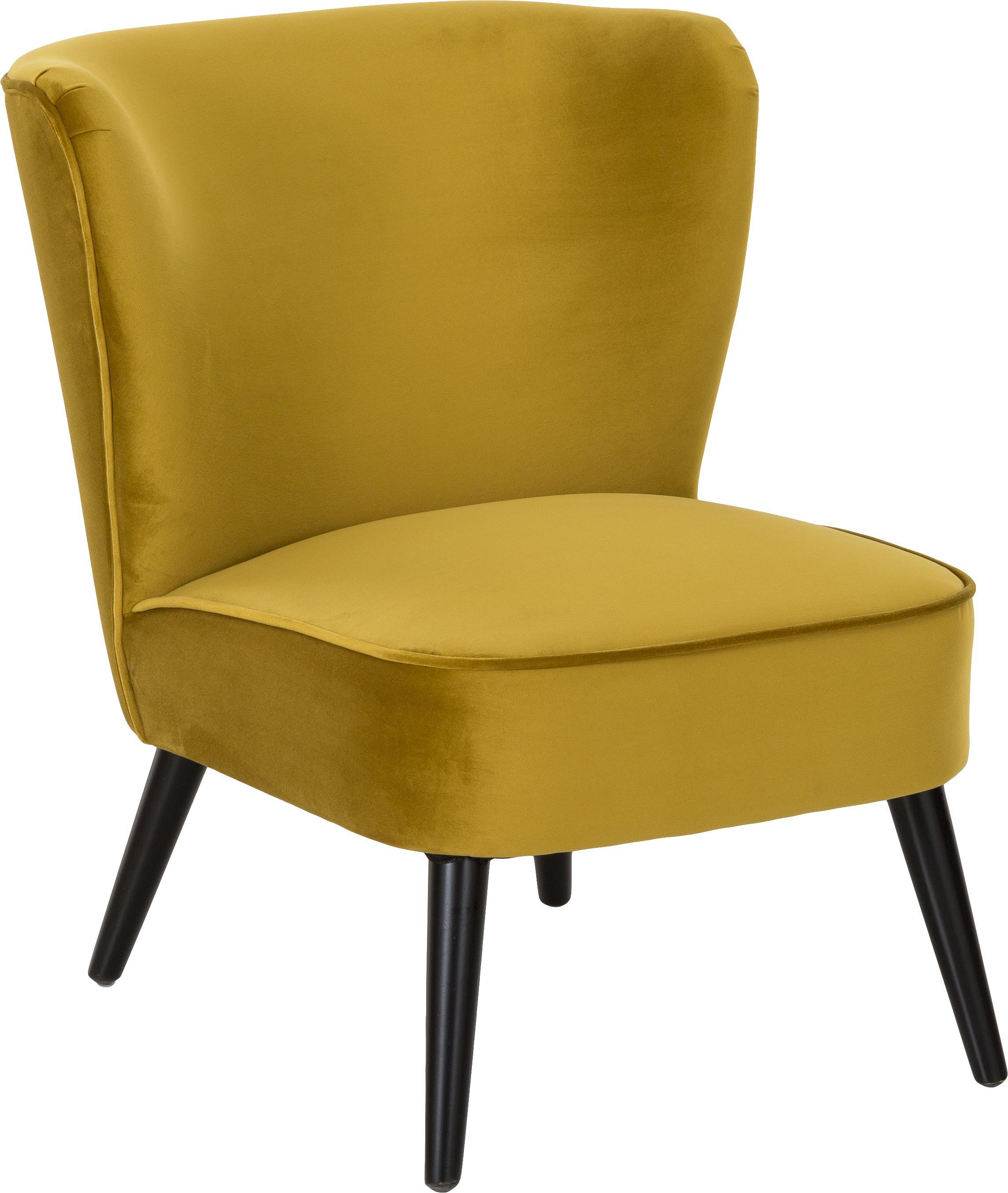 Poltrona do cocktail in velluto Robine in giallo oliva, Rivestimento: velluto (poliestere) 30.0, Gambe: legno di pino verniciato, Giallo oliva, Larg. 63 x Prof. 73 cm