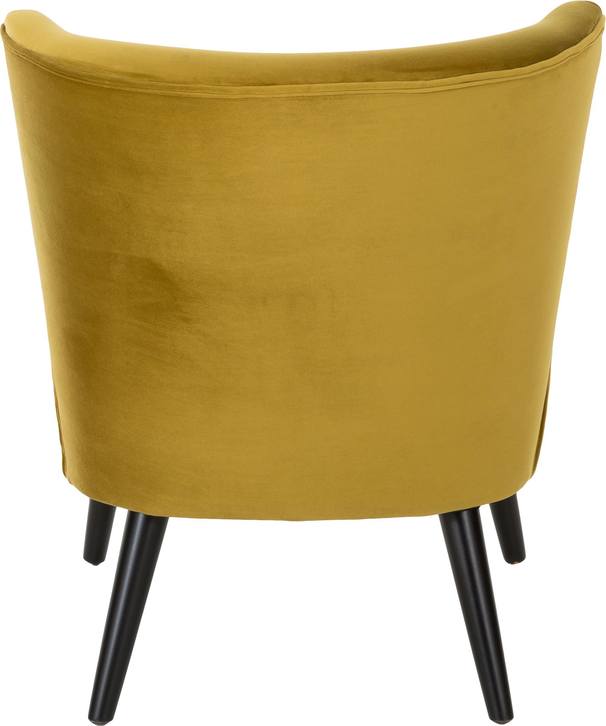 Samt-Cocktailsessel Robine in Olivgelb, Bezug: Samt (Polyester) 30.000 S, Füße: Kiefernholz, lackiert, Samt Olivgelb, B 63 x T 73 cm