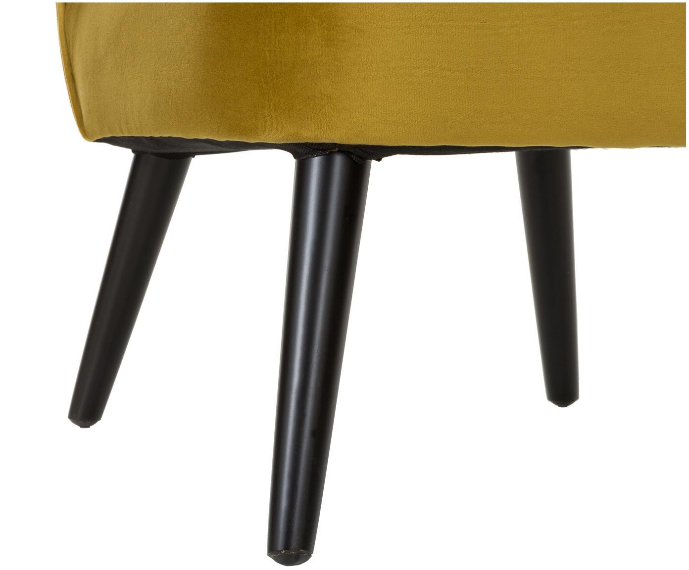Aksamitne krzesło Robine, Tapicerka: aksamit (poliester) Tkani, Nogi: drewno sosnowe, lakierowa, Oliwkowy żółty, S 63 x G 73 cm