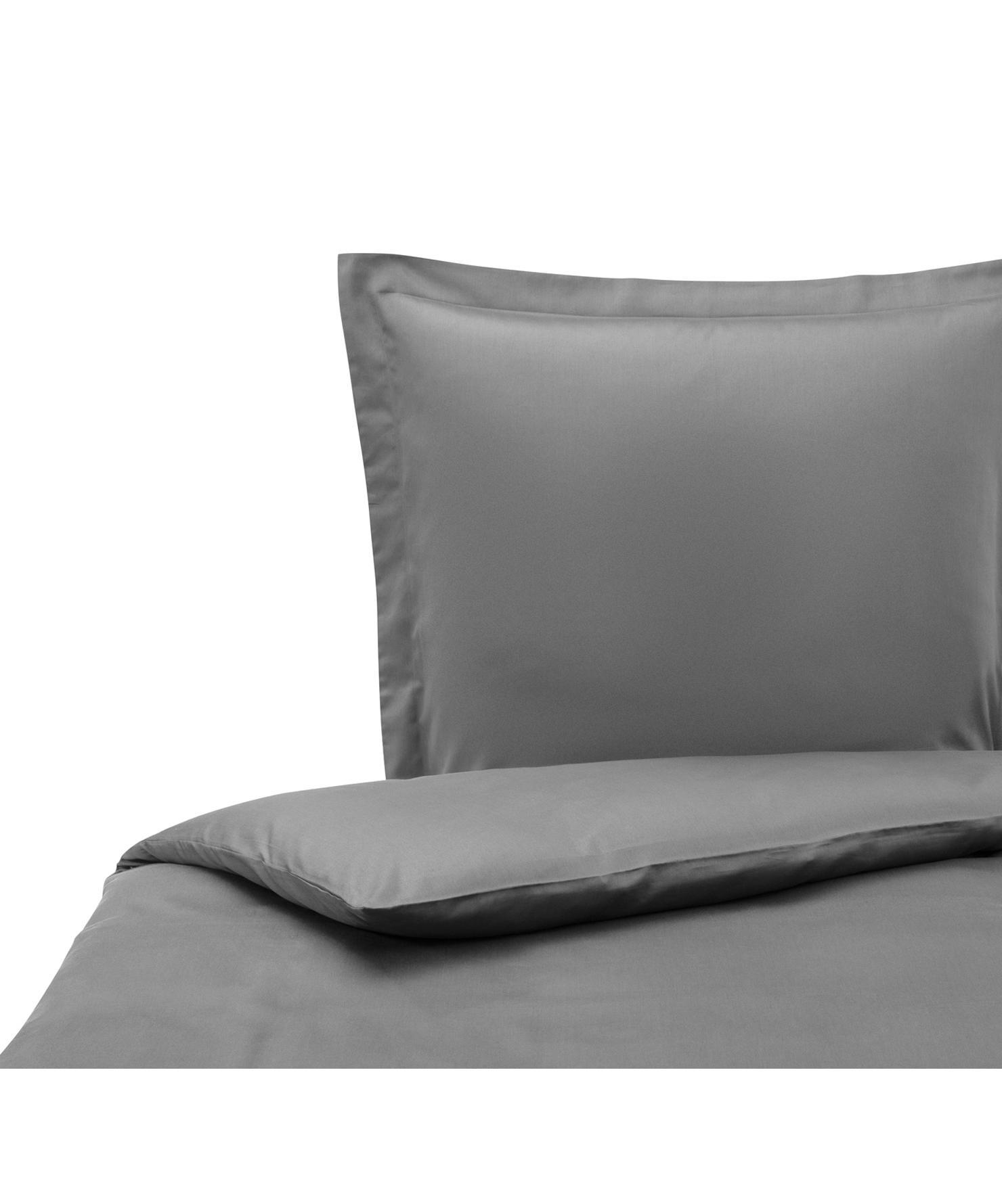 Funda nórdica de satén Premium, Gris oscuro, Cama 90 cm (150 x 200 cm)