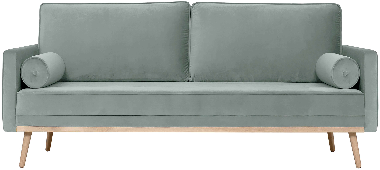 Samt-Sofa Saint (3-Sitzer), Bezug: Samt (Polyester) Der hoch, Gestell: Massives Eichenholz, Span, Samt Salbeifarben, B 210 x T 93 cm