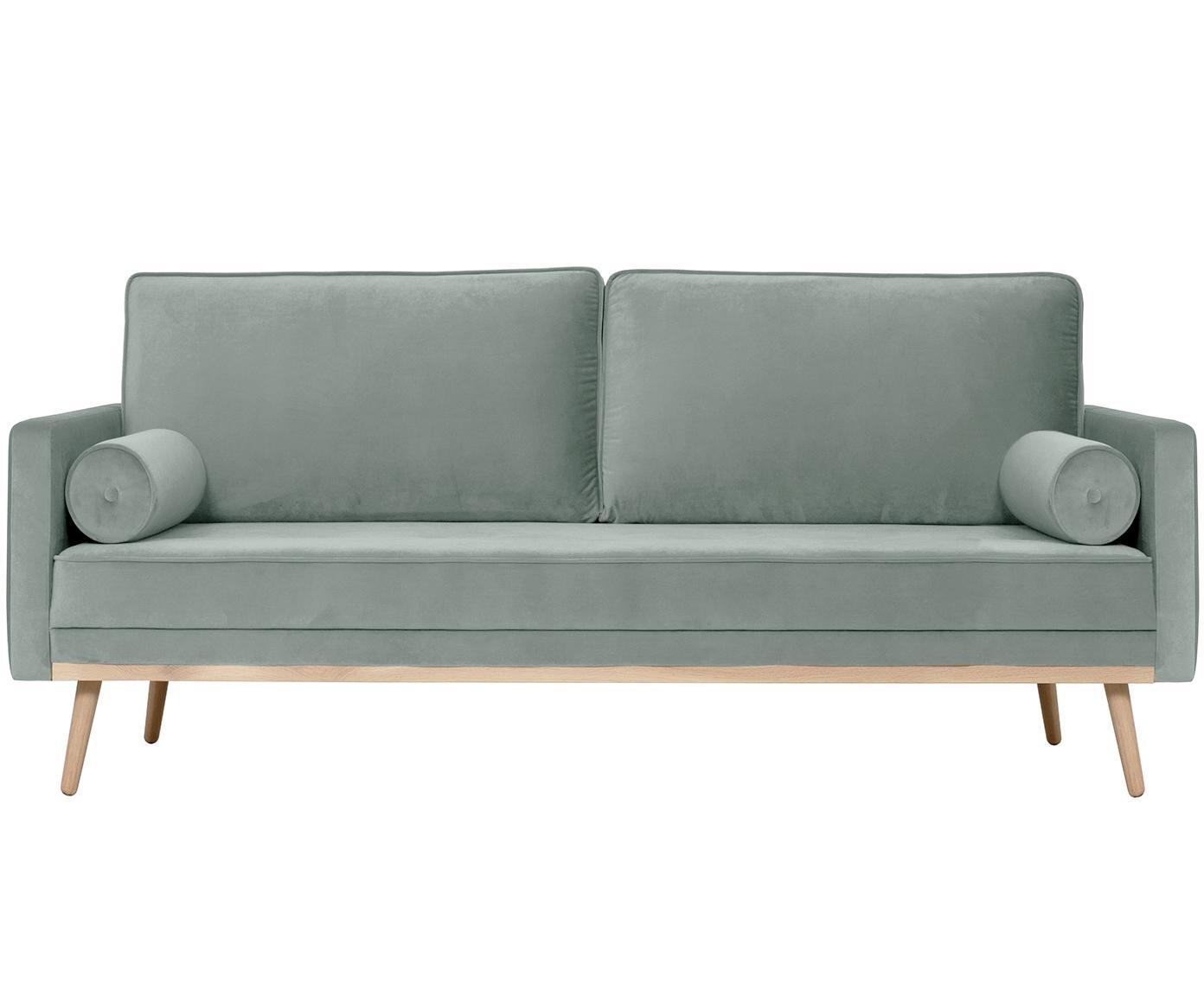 Sofa z aksamitu Saint (3-osobowa), Tapicerka: aksamit (poliester) 3500, Stelaż: masywne drewno dębowe, pł, Szałwiowy zielony, S 210 x G 93 cm