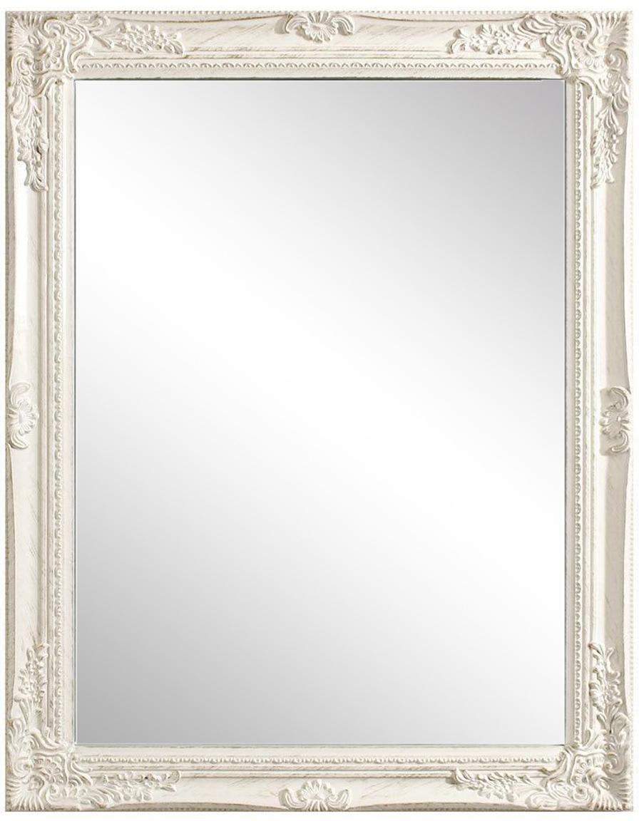 Espejo de pared Miro, Madera de Paulownia, espejo de cristal, Blanco, An 62 x Al 82 cm