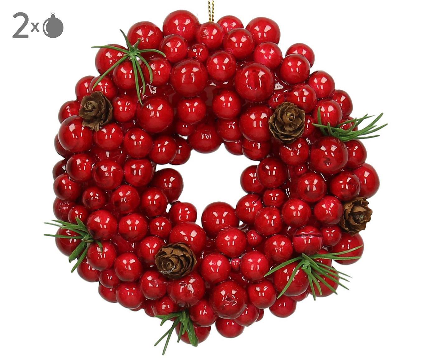 Baumanhänger Wreath, 2 Stück, Rot, Grün, Braun, Ø 11 cm