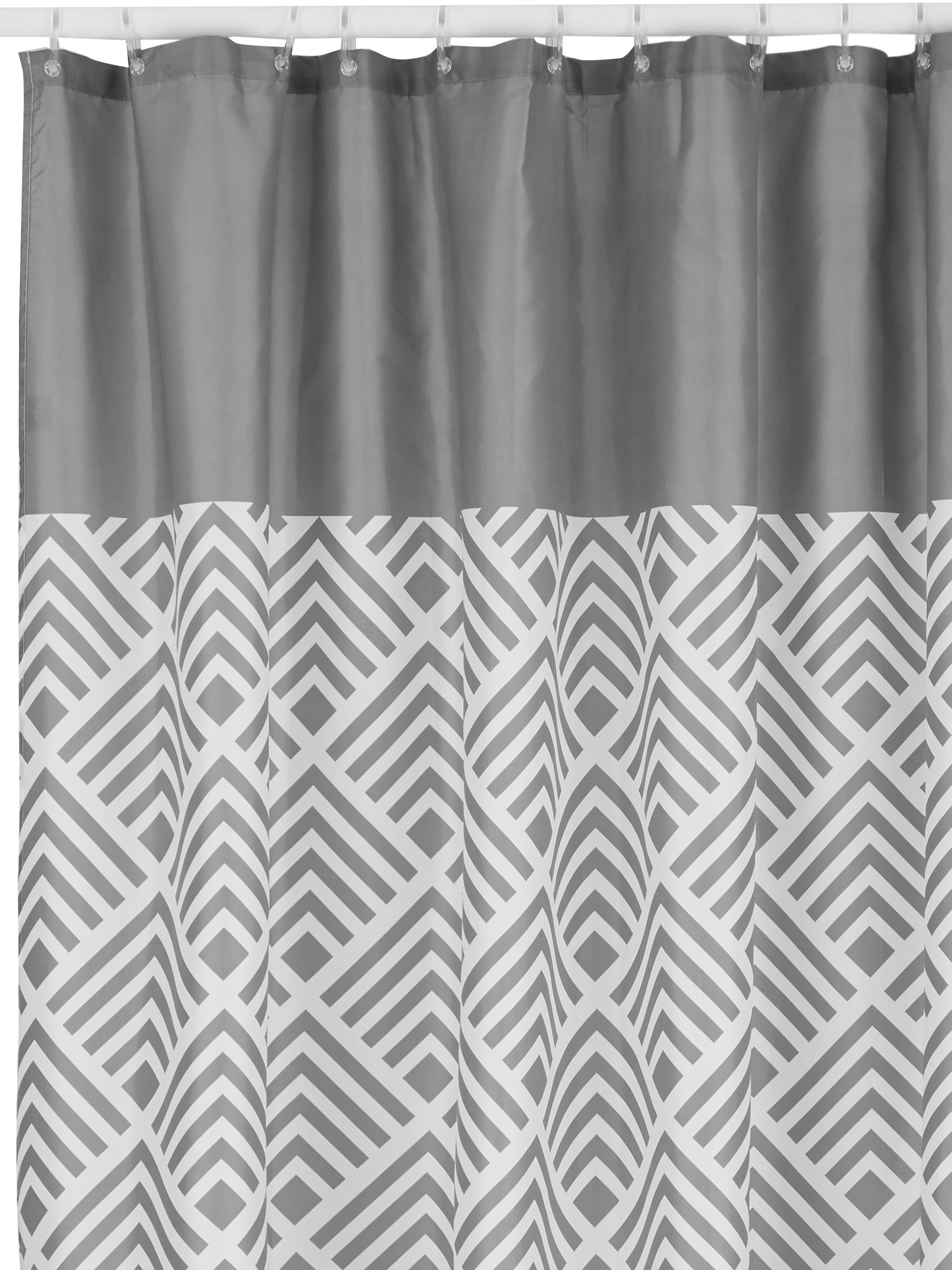 Cortina de baño Allie, Ojales: metal, Gris, blanco, An 180 x L 200 cm
