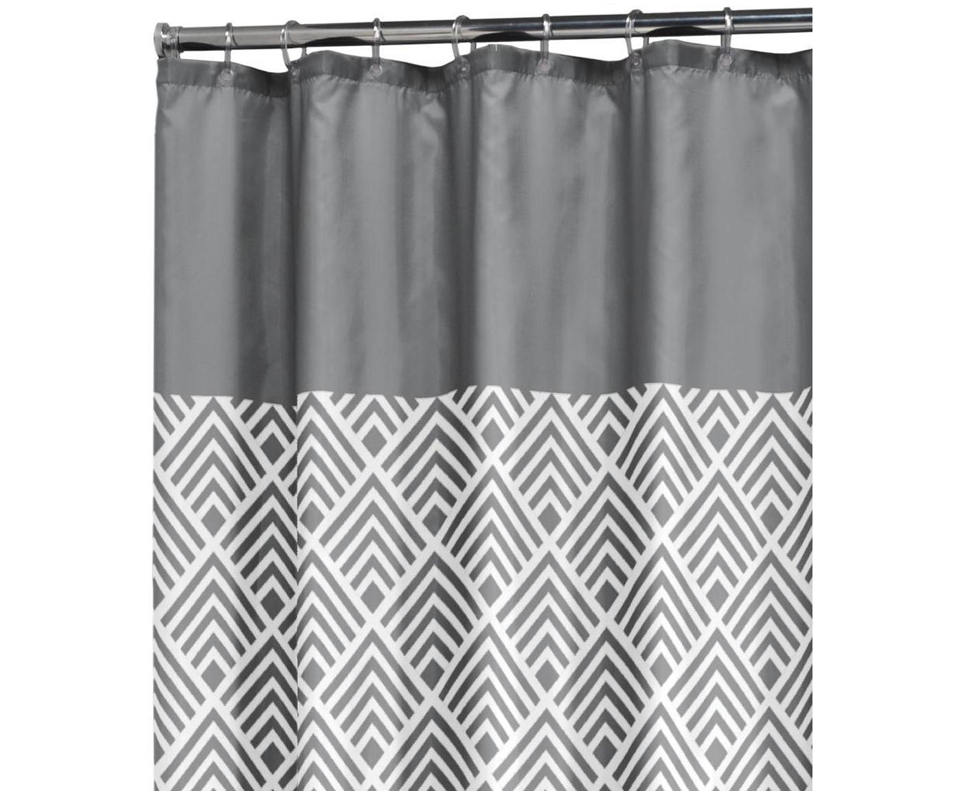 Douchegordijn met patroon Allie, Oogjes: metaal, Grijs, wit, 180 x 200 cm