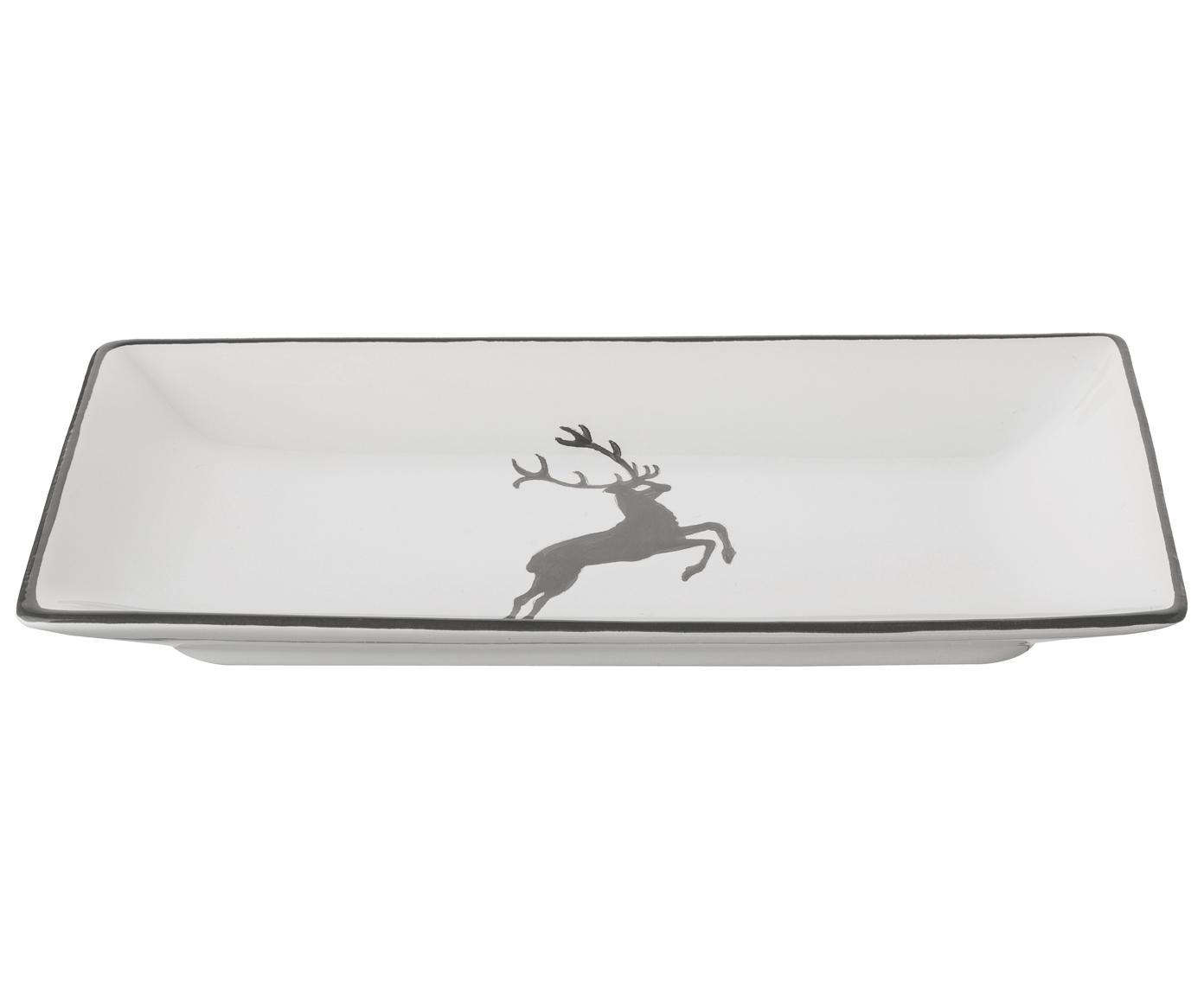 Handbemalte Servierplatte Grauer Hirsch, Keramik, Grau,Weiß, 22 x 11 cm