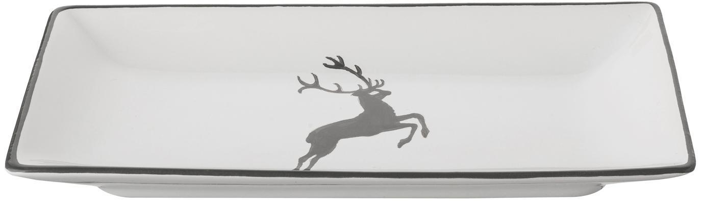 Ręcznie malowany półmisek Grauer Hirsch, Ceramika, Szary, biały, D 11 x S 22 cm