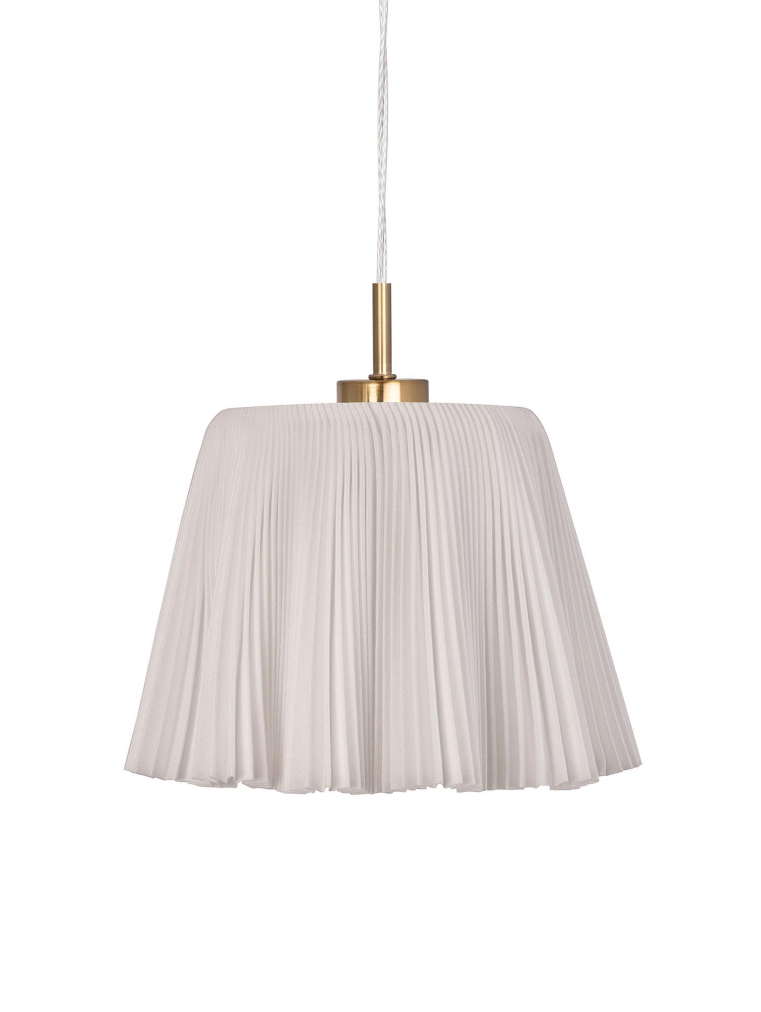 Lampada a sospensione Edith, Cotone, metallo, Beige, ottonato, Ø 20 x Alt. 25 cm