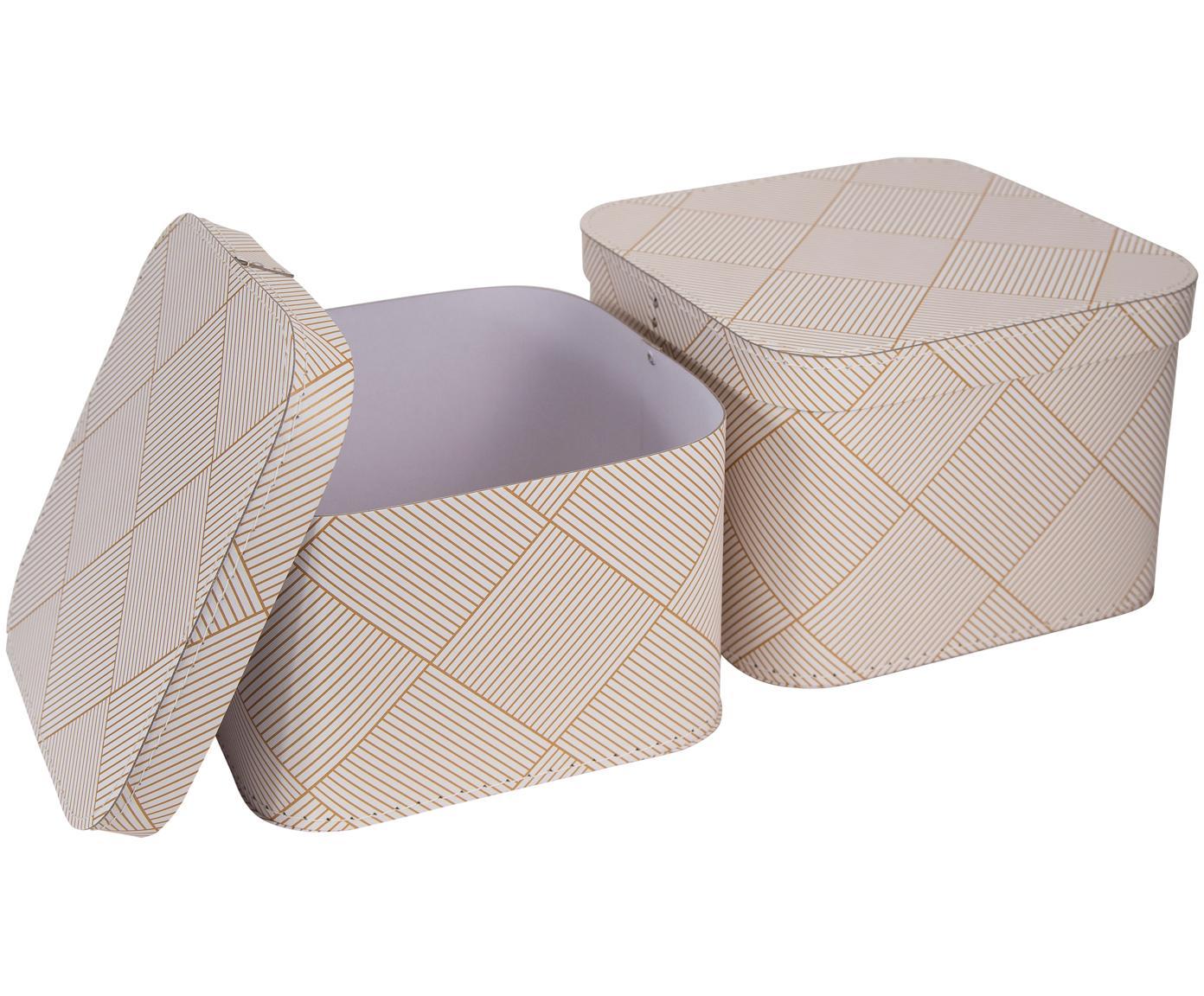 Set 2 scatole Ludvig, Solido, cartone laminato, Dorato, bianco, Diverse dimensioni