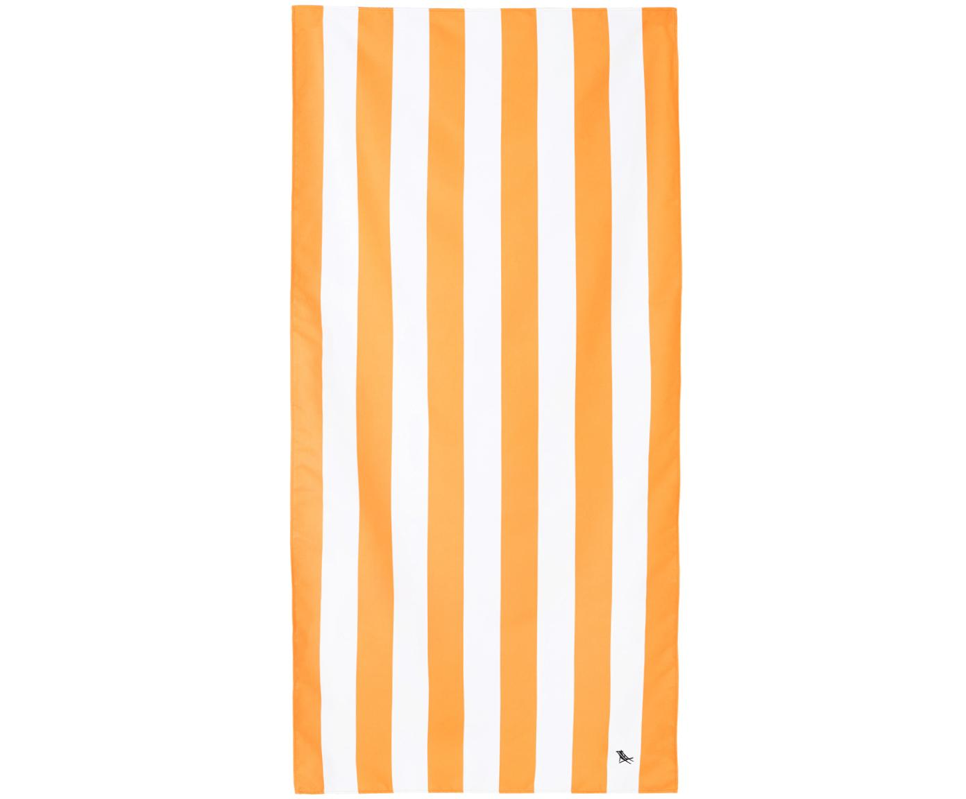 Microvezel strandlaken Cabana, sneldrogend, Microvezels (80% polyester, 20% polyamide), Oranje, wit, 90 x 200 cm
