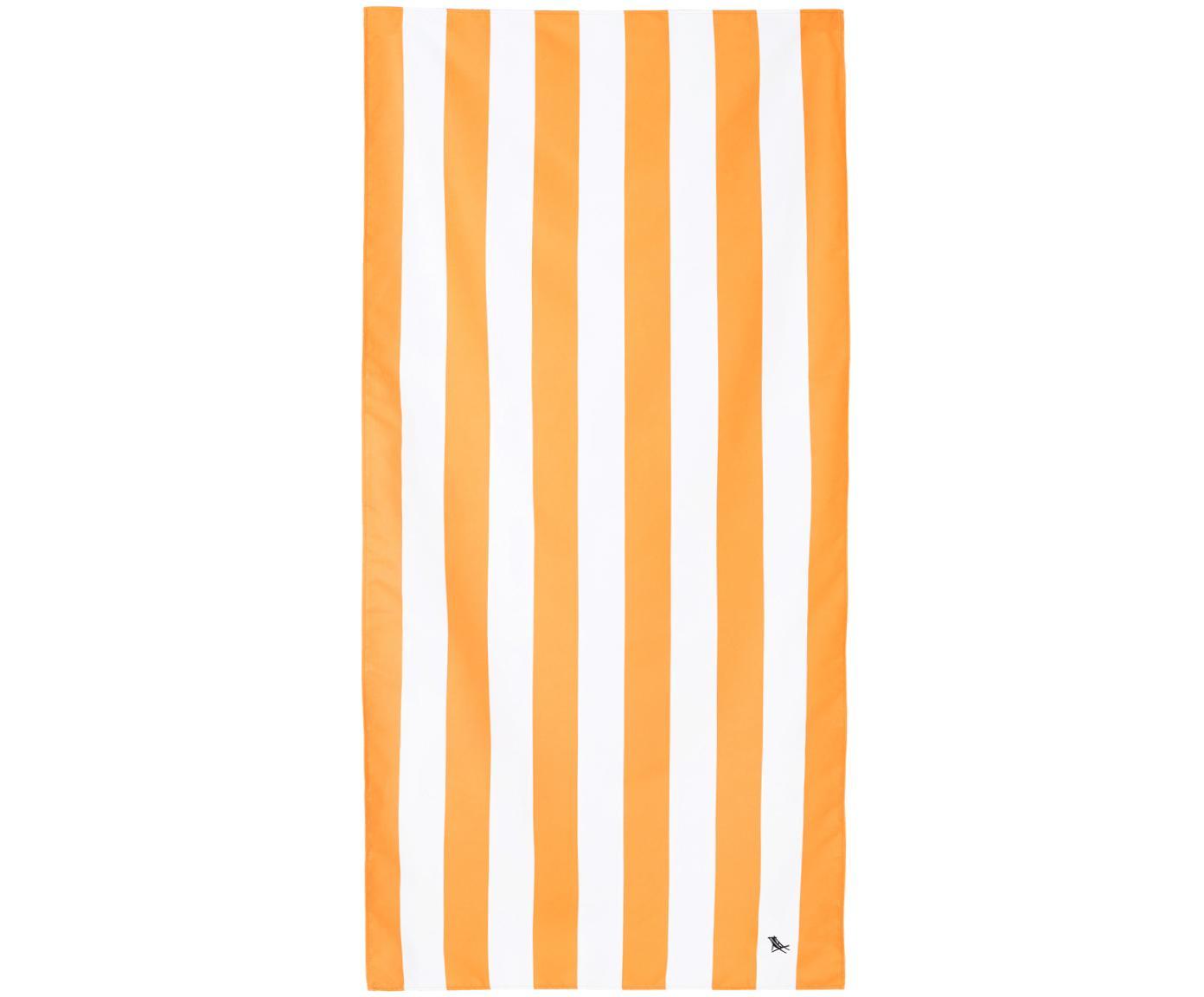 Telo mare in microfibra Cabana, asciugatura rapida, Microfibra (80% poliestere, 20% poliammide), Arancione, bianco, Larg. 90 x Lung. 200 cm