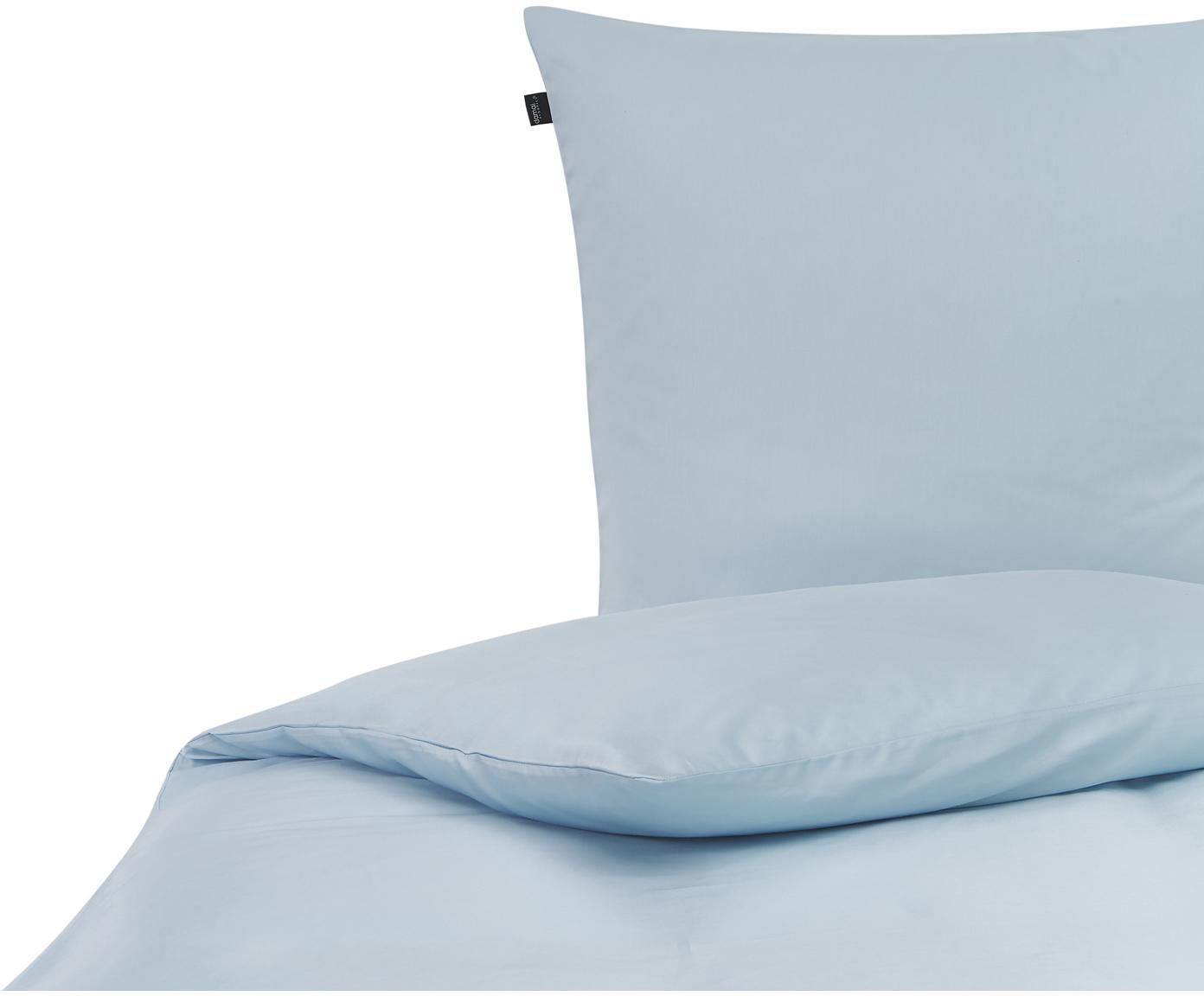 Baumwollsatin-Bettwäsche Birk in Hellblau, Webart: Satin Baumwollsatin wird , Hellblau, 135 x 200 cm + 1 Kissen 80 x 80 cm