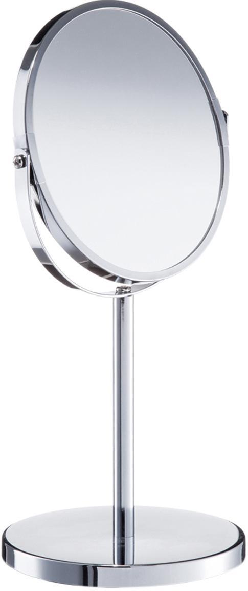 Kosmetikspiegel Flip mit Vergrösserung, Spiegelfläche: Spiegelglas, Silberfarben, Ø 17 x H 35 cm