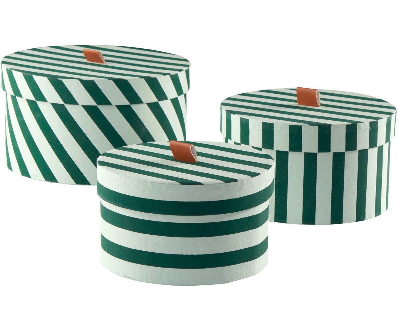 Opbergdozenset Dizzy, 3-delig, Karton, Groen, Verschillende formaten