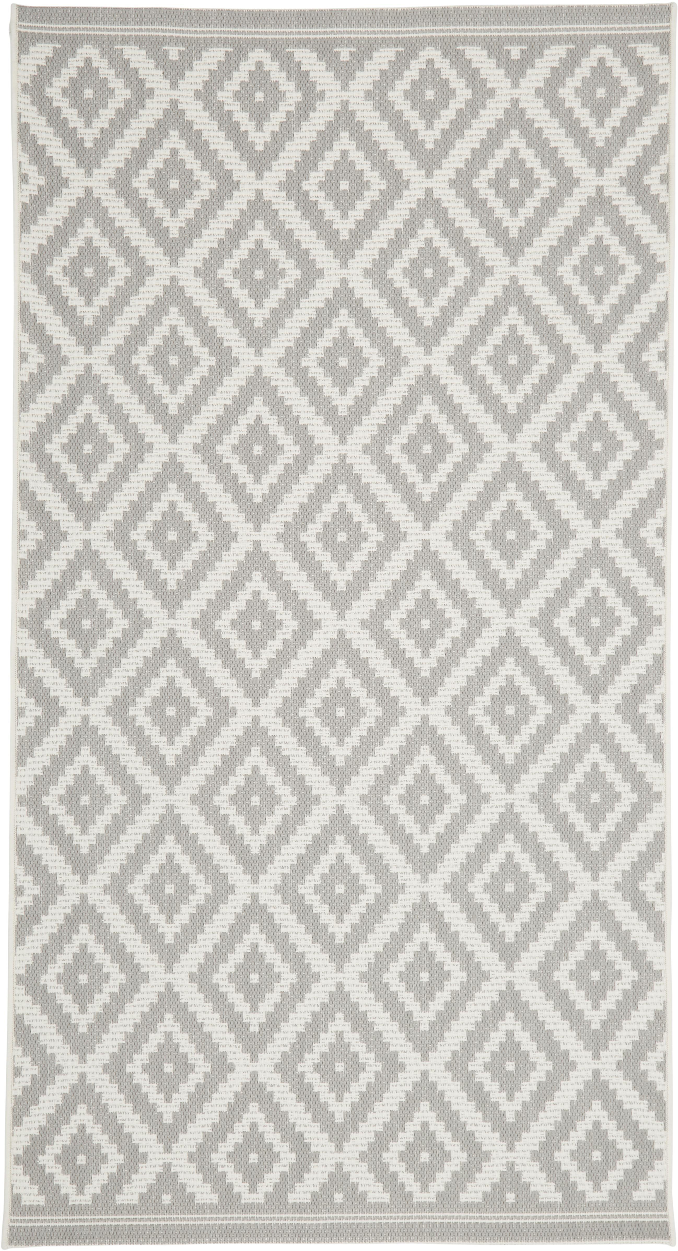 Gemusterter In- & Outdoor-Teppich Miami in Grau/Weiß, Flor: 100% Polypropylen, Cremeweiß, Grau, B 80 x L 150 cm (Größe XS)