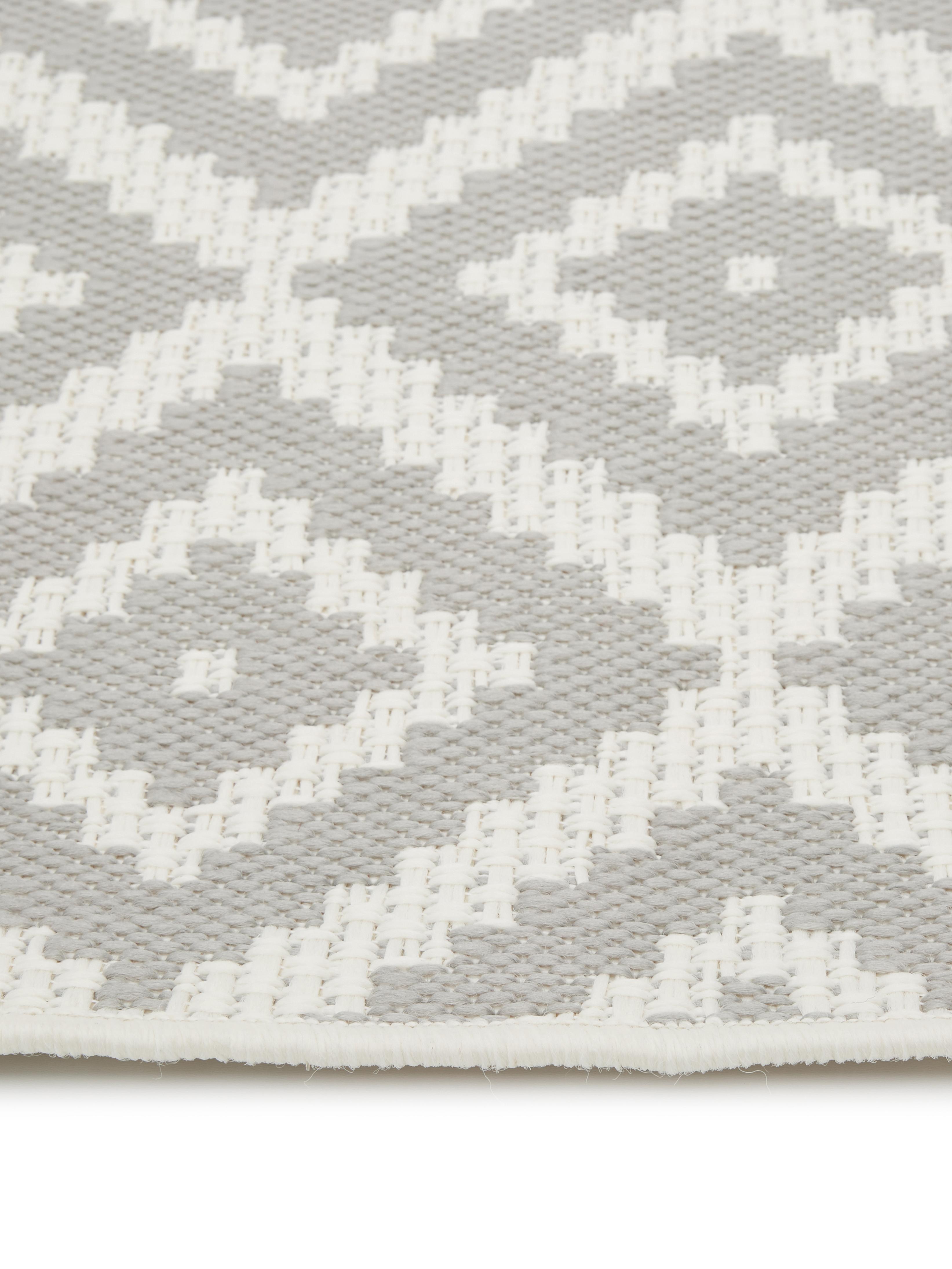 Tappeto da interno-esterno Miami, Retro: poliestere, Bianco crema, grigio, Larg. 80 x Lung. 150 cm (taglia XS)