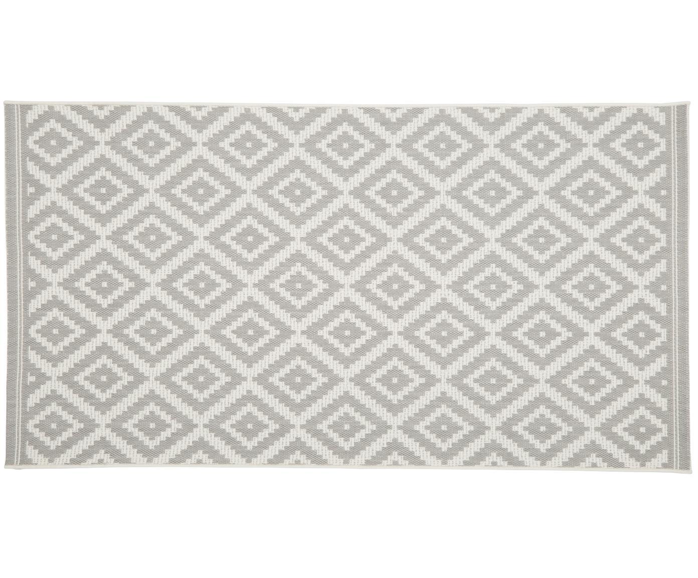 Alfombra de interior/exterior Miami, Parte superior: polipropileno, Reverso: poliéster, Blanco crema, gris, An 80 x L 150 cm (Tamaño XS)