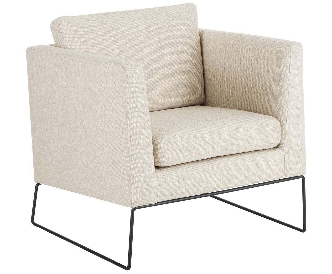 Fauteuil Milo, Bekleding: hoogwaardig polyester, Frame: grenenhout, Poten: gelakt metaal, Geweven stof beige, 77 x 75 cm