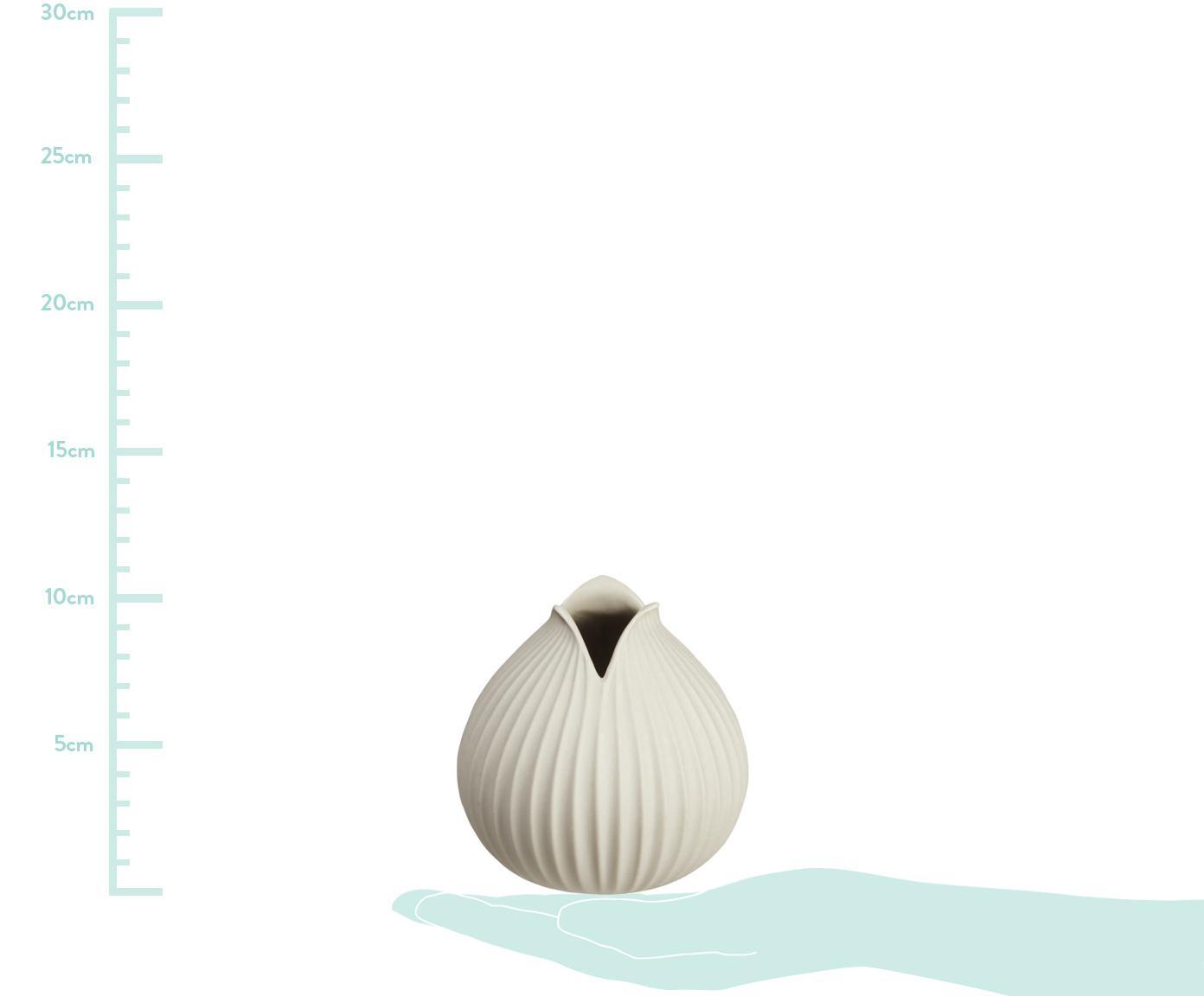 Handgefertigte Vase Yoko aus Porzellan, Porzellan, Beige, Ø 15 x H 22 cm