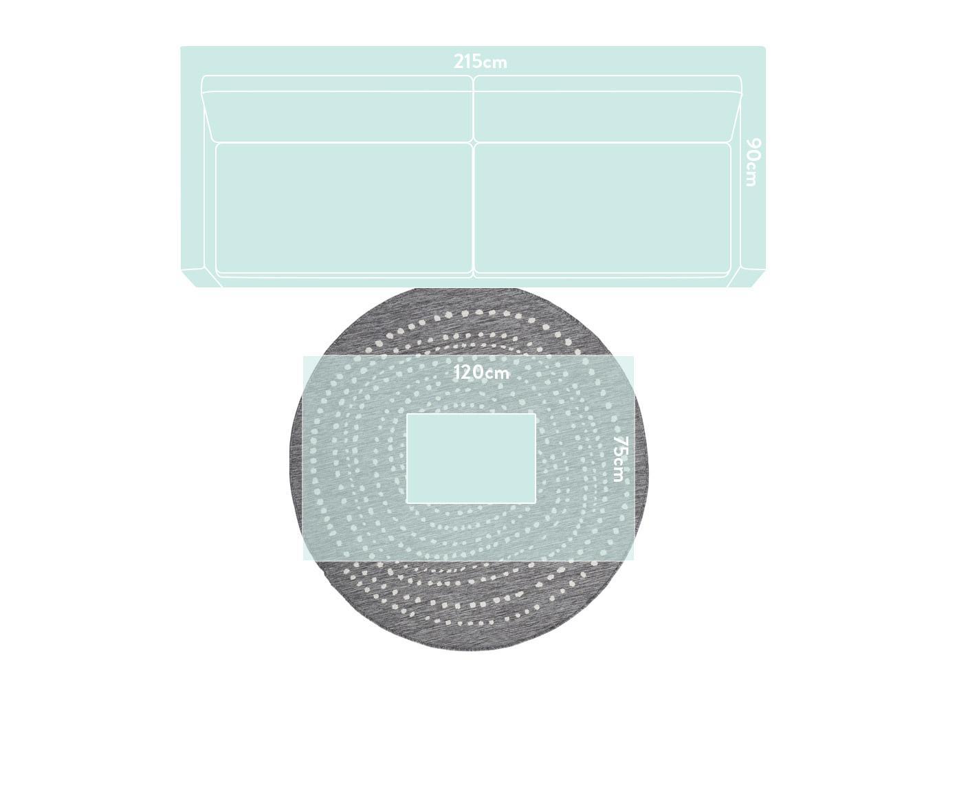 Alfombra redonda reversible de interior/exterior Bali, Gris, crema, Ø 140 cm (Tamaño M)