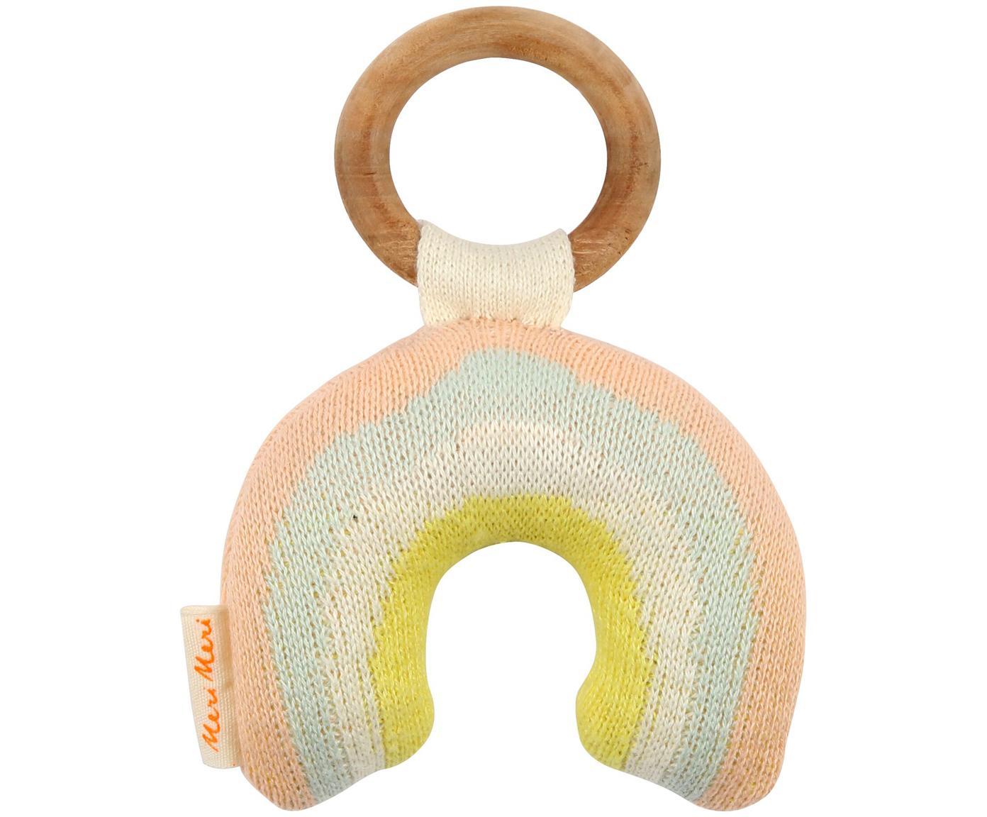 Grzechotka z bawełny organicznej Rainbow, Blady różowy, niebieski, kremowy, żółty, S 10 x W 14 cm