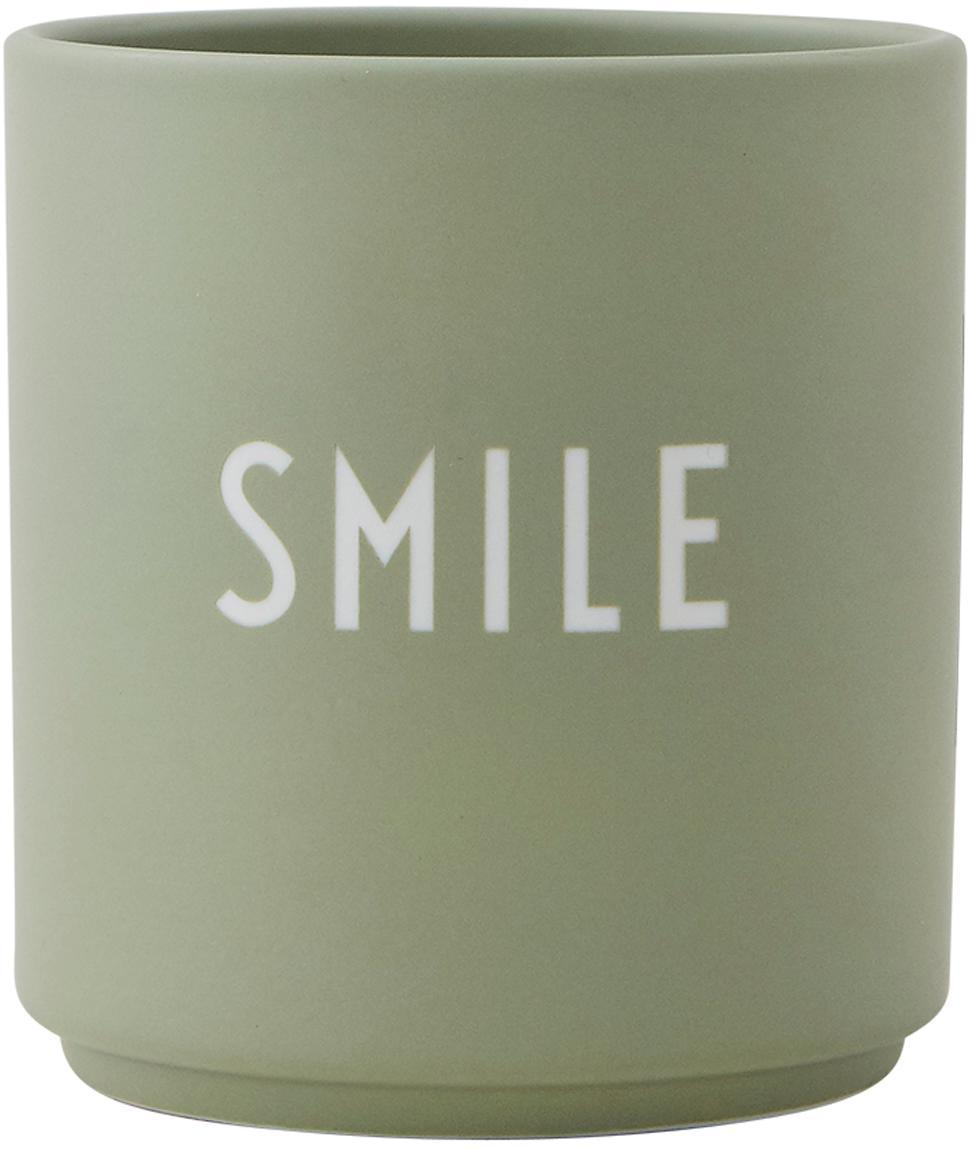Design Becher Favourite SMILE in Mint mit Schriftzug, Fine Bone China (Porzellan), Grün, Weiss, Ø 8 x H 9 cm