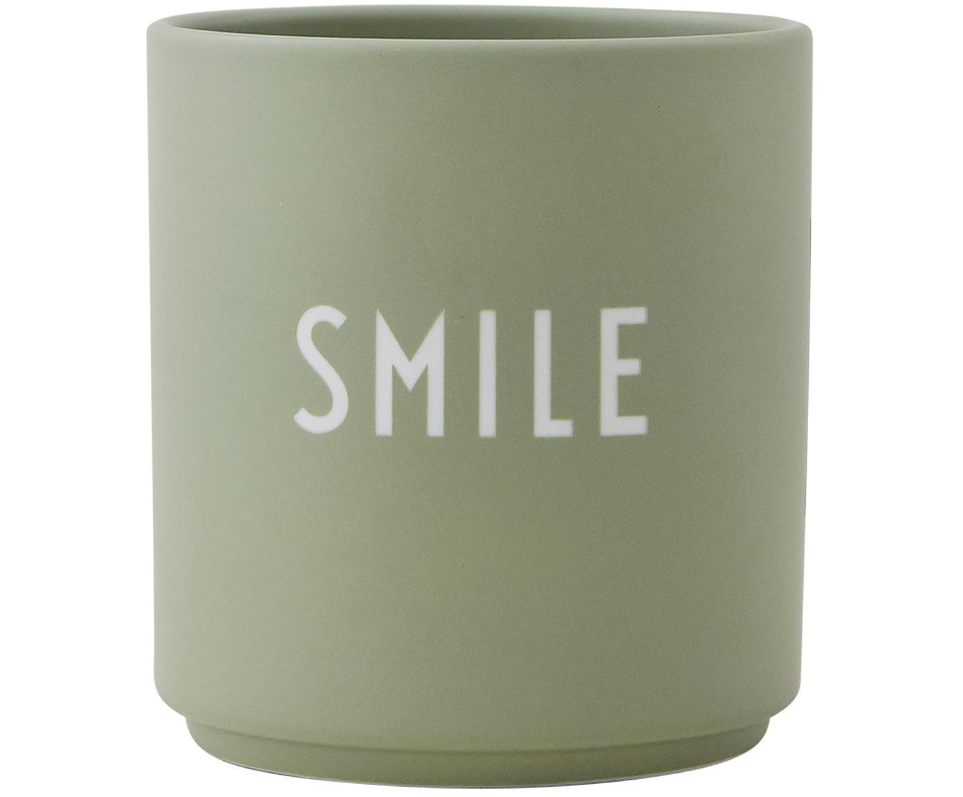 Tazza di design con scritta Favourite, Porcellana Fine Bone China smaltata, Verde, bianco, Ø 8 x Alt. 9 cm