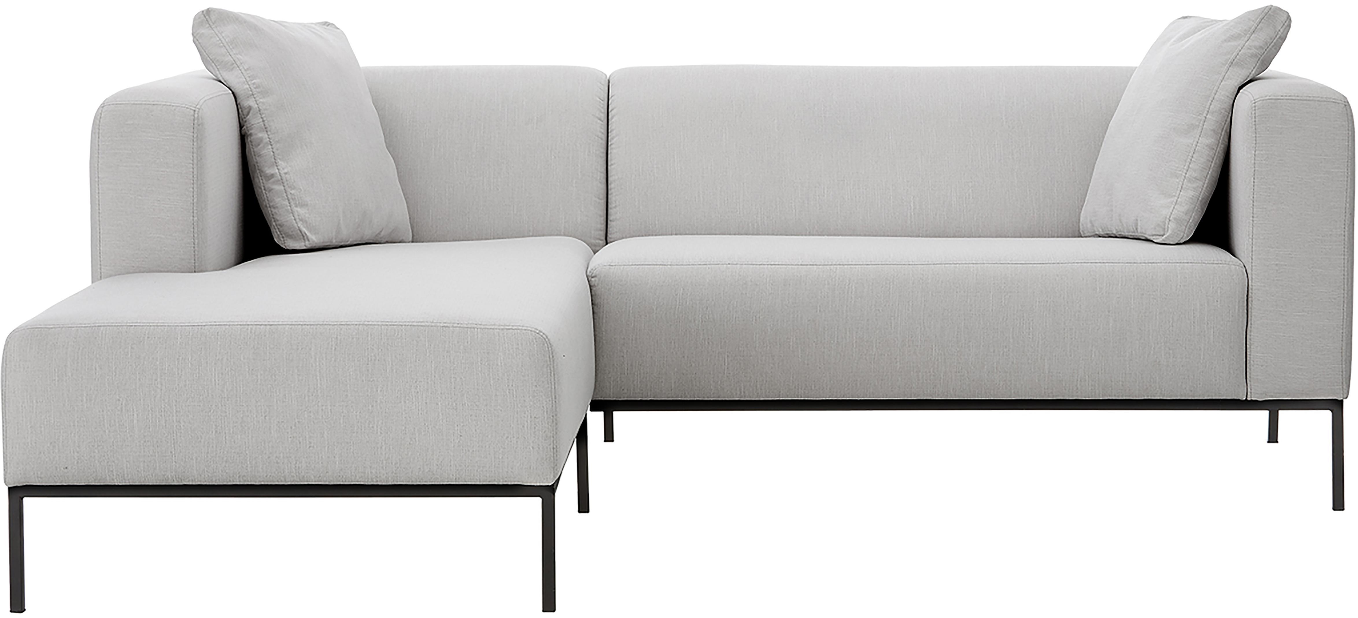 Hoekbank Carrie, Bekleding: polyester, Frame: spaanplaat, hardboard, mu, Poten: gelakt metaal, Geweven stof grijs, B 241 x D 200 cm