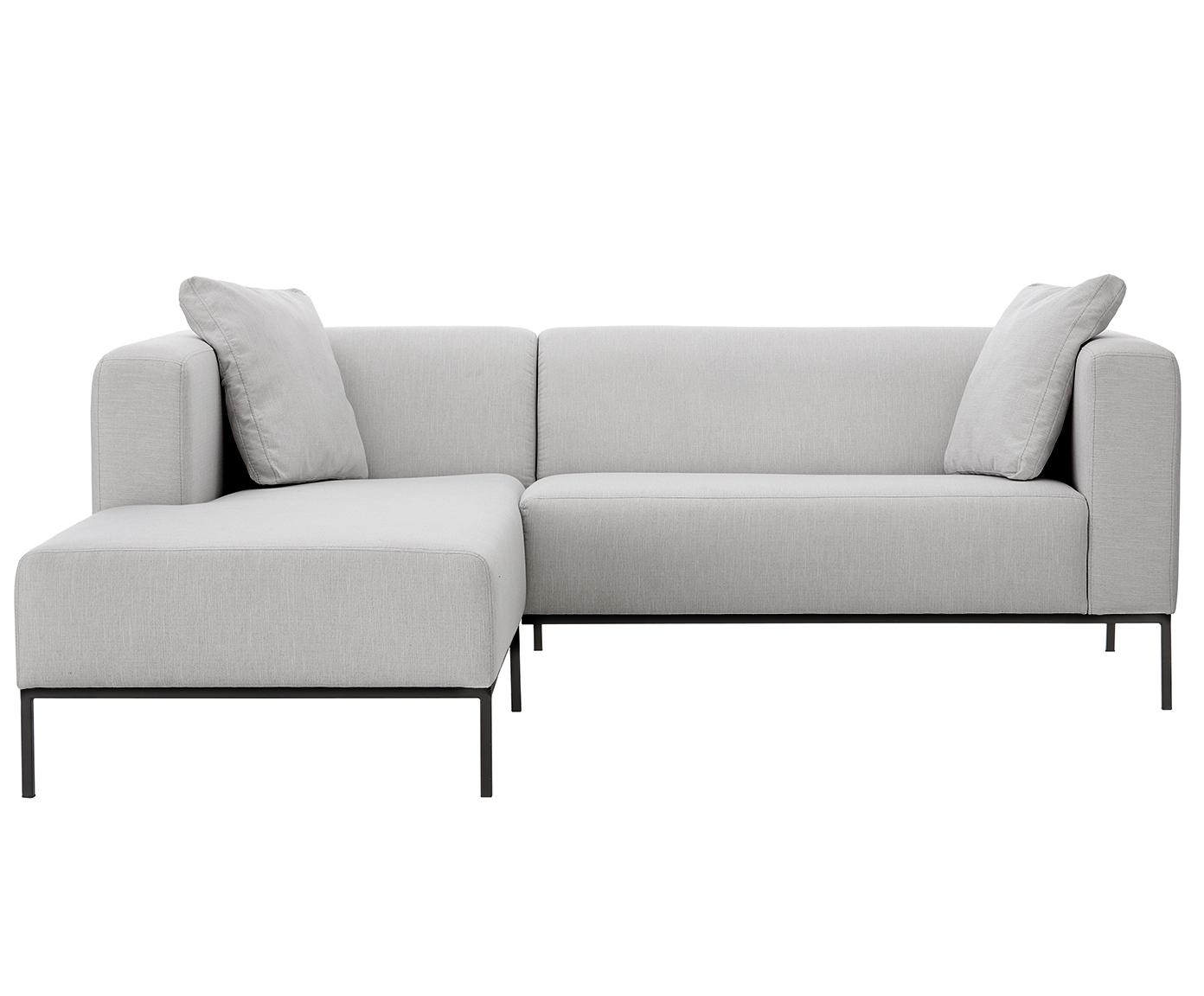 Hoekbank Carrie, Bekleding: polyester, Frame: spaanplaat, hardboard, mu, Poten: gelakt metaal, Webstoff Grau, B 241 x D 200 cm
