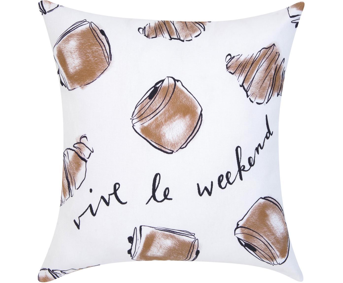 Funda de cojín de diseño Kera Till Croissant, Algodón, Blanco, fresno, Cama 180/200 cm (270 x 280 cm)