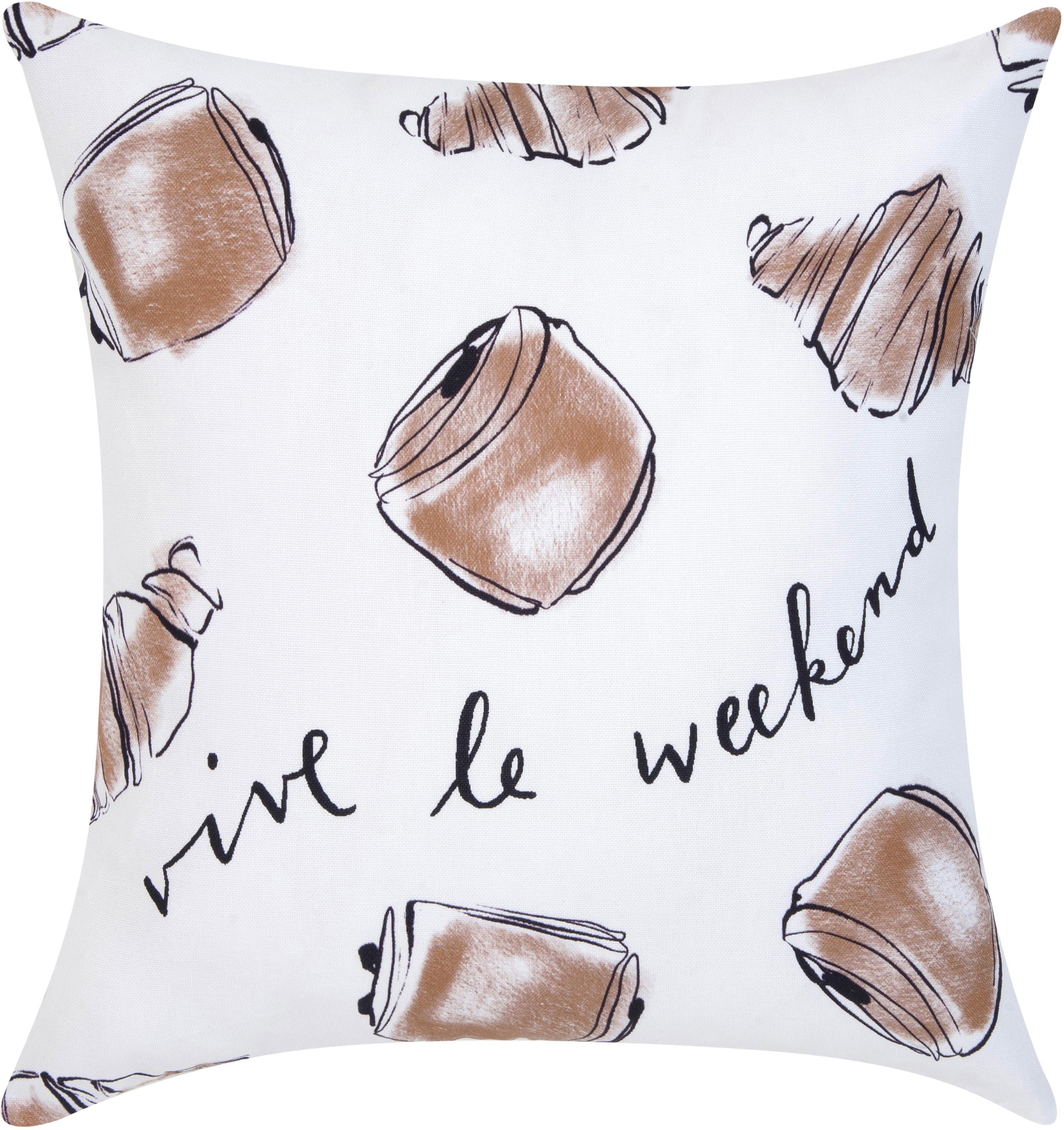 Poszewka na poduszkę Croissant od Kery Till, Bawełna, Biały, brązowy, S 40 x D 40 cm