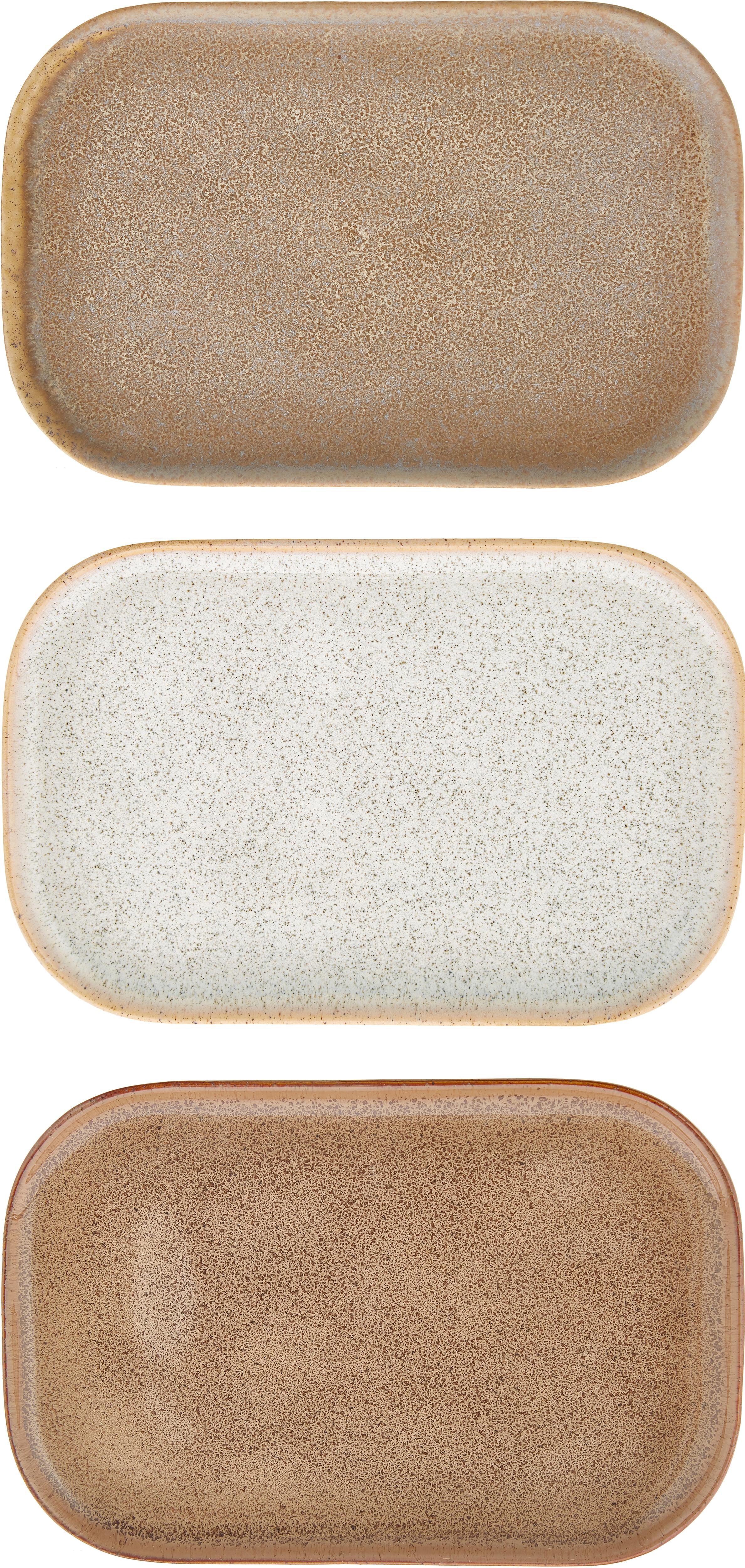 Handgemachtes Servierplatten Addison, 3er-Set, Steingut, Beige, Weiß, B 15 x T 23 cm