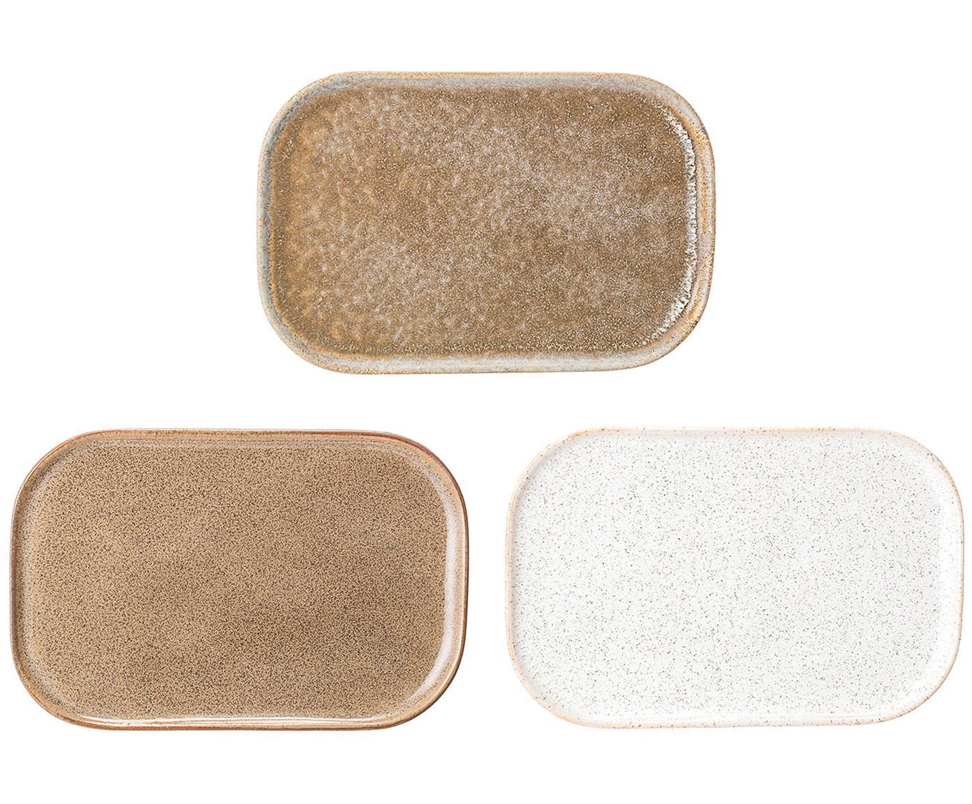 Handgemaakte serveerplateauset Addison, 3-delig, Keramiek, Beige, wit, B 15 x D 23 cm