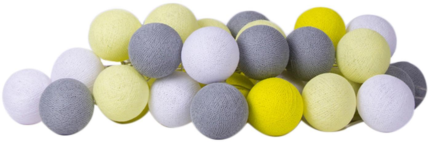 LED Lichterkette Colorain, Lampions: Polyester, Gelb, Weiß, Grautöne, L 264 cm
