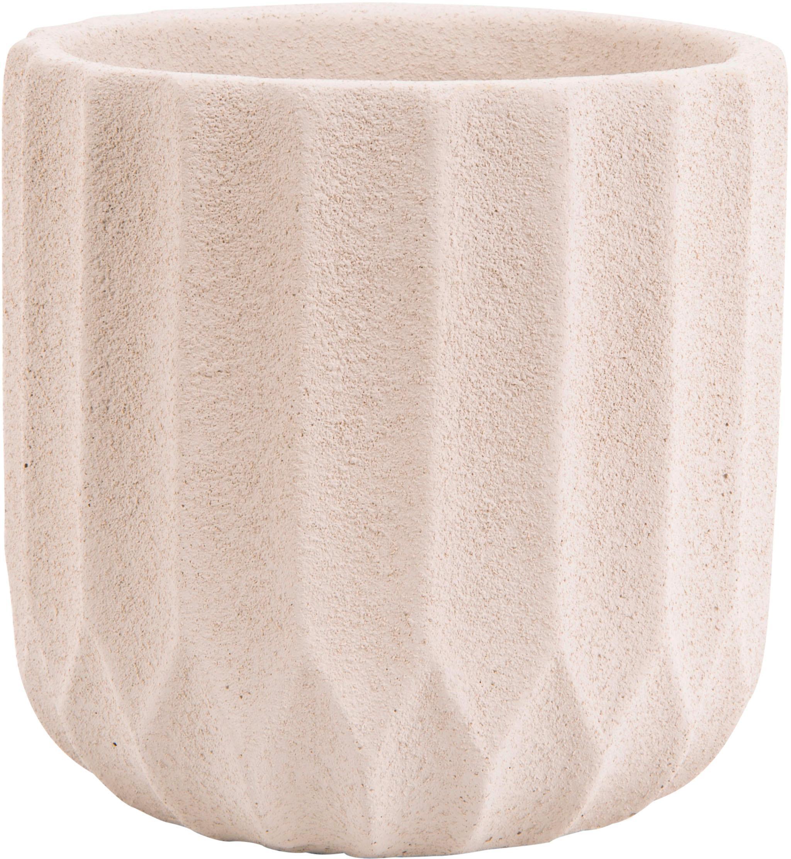 Macetero Stripes, Gris cemento, Beige, Ø 15 x Alto 15 cm