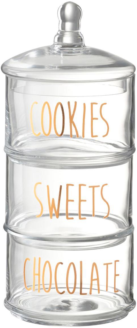 Set contenitori Sweets 4 pz, Vetro, Trasparente, dorato, Ø 18 cm