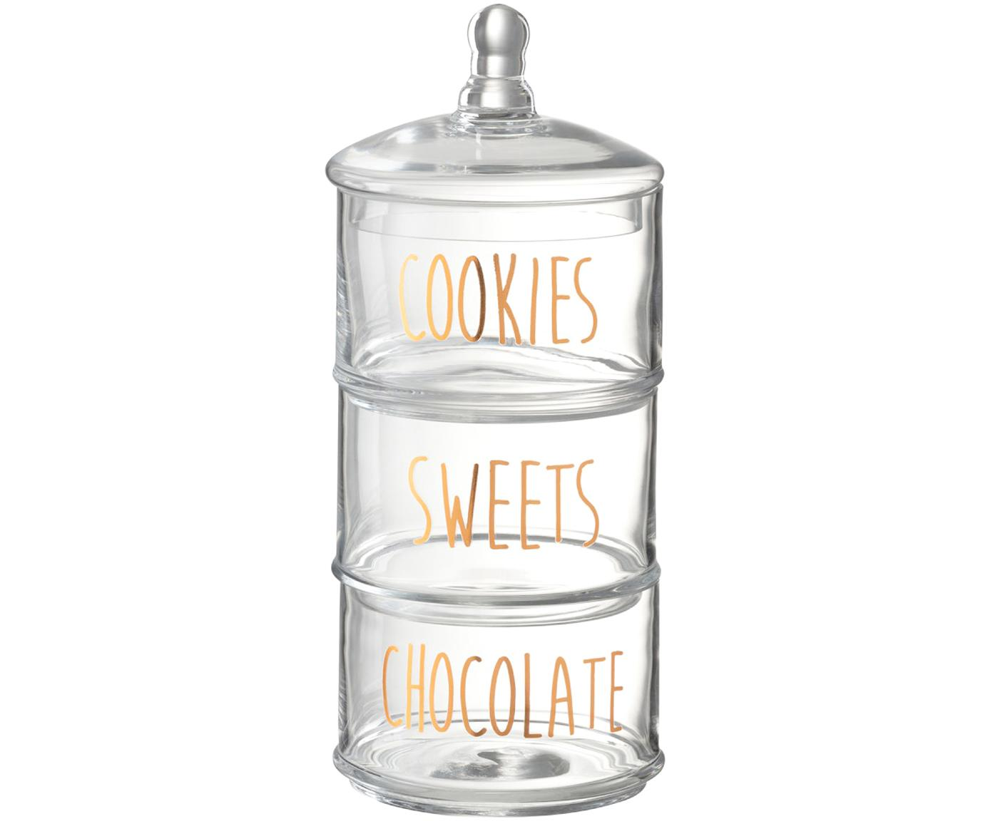 Opbergpottenset  Sweets, 4-delig, Glas, Transparant, koperkleurig, Ø 18 x H 40 cm