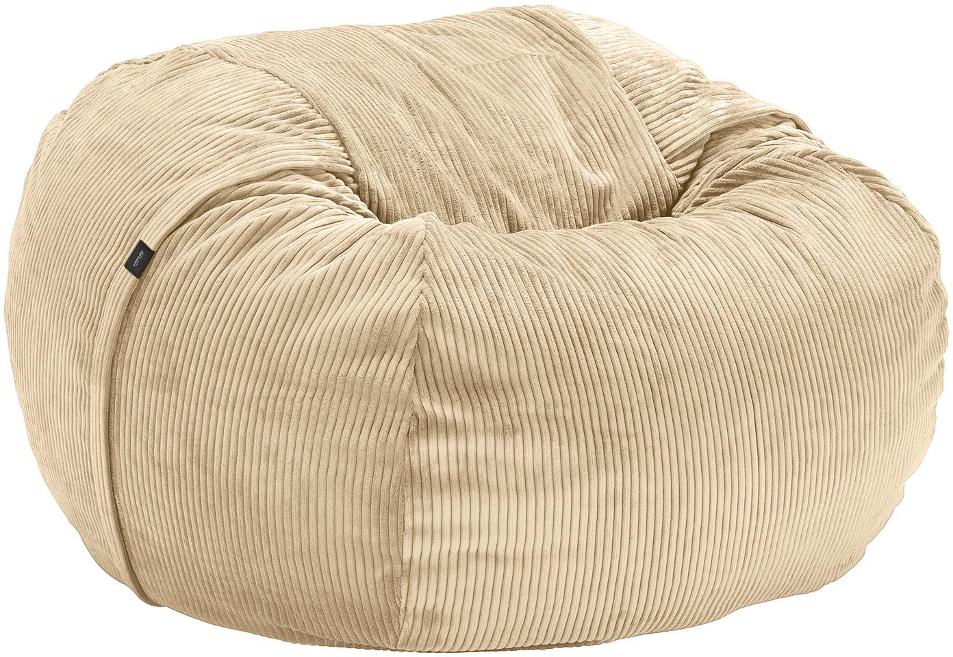 Cord-Sitzsack Velours, Bezug: 88% Nylon, 12% Polyester , Beige, Ø 110 x H 70 cm
