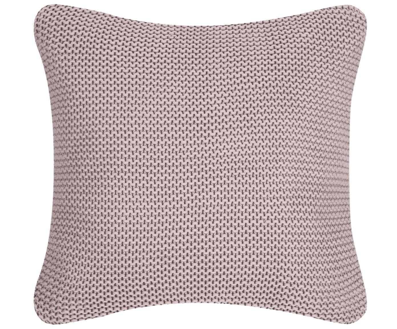 Federa arredo fatta a maglia rosa cipria Adalyn, 100% cotone, Rosa cipria, Larg. 40 x Lung. 40 cm