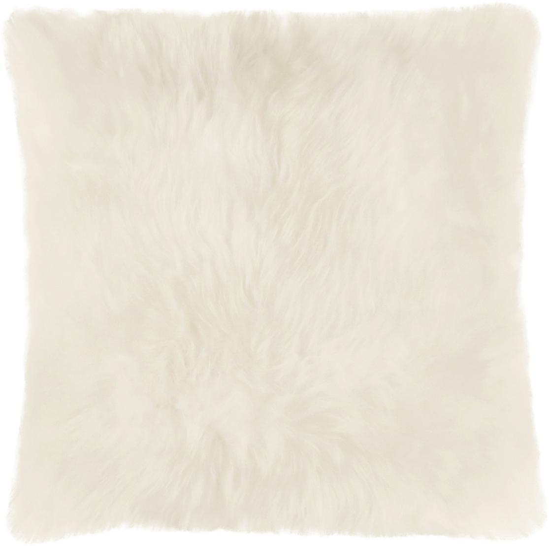Federa arredo in pelliccia di pecora Oslo, Retro: lino, Fronte: avorio Retro: avorio, Larg. 40 x Lung. 40 cm