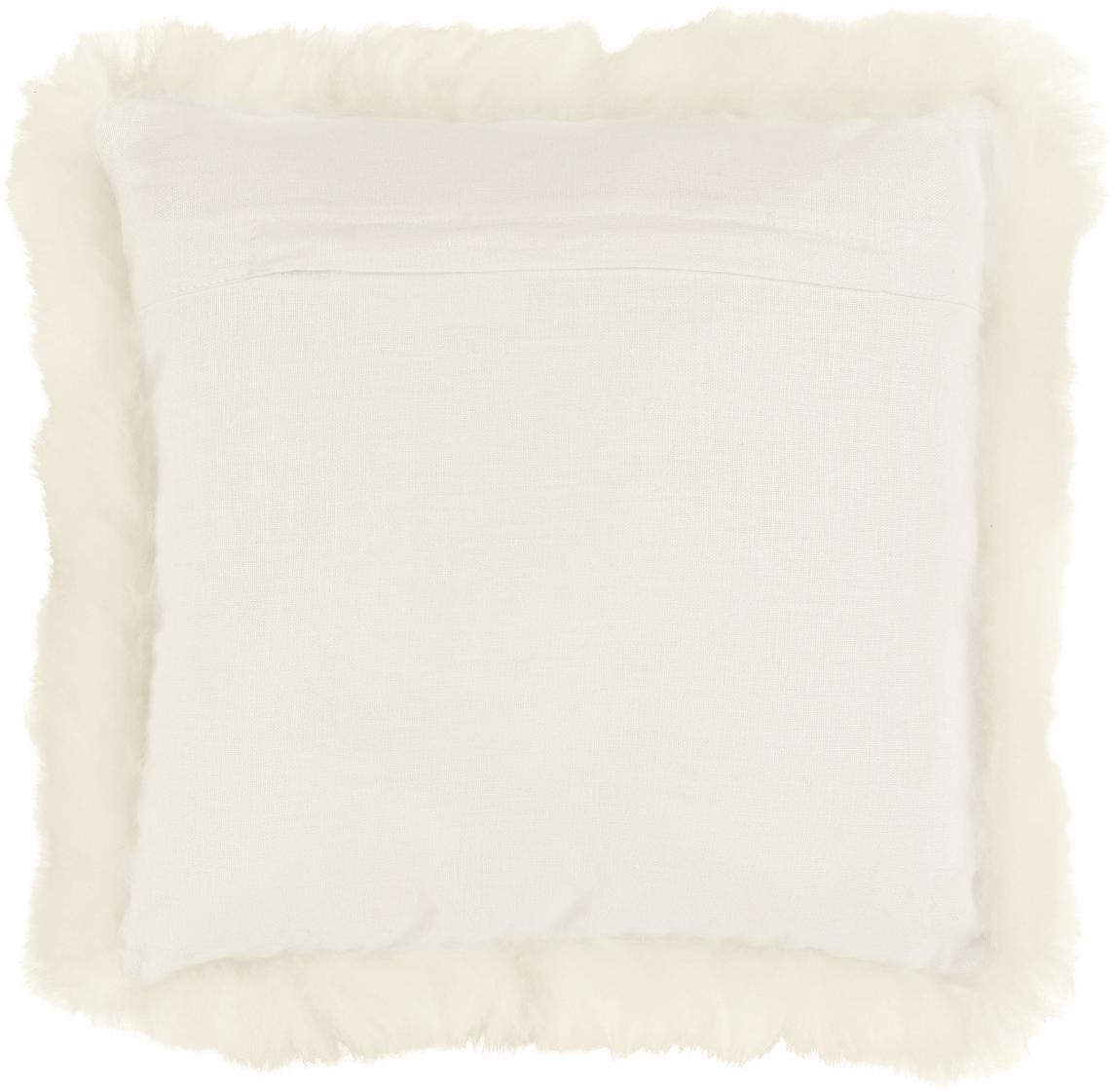 Schaffell-Kissenhülle Oslo, glatt, Vorderseite: 100% Schaffell, Rückseite: Leinen, Vorderseite: CremeweißRückseite: Cremeweiß, 40 x 40 cm