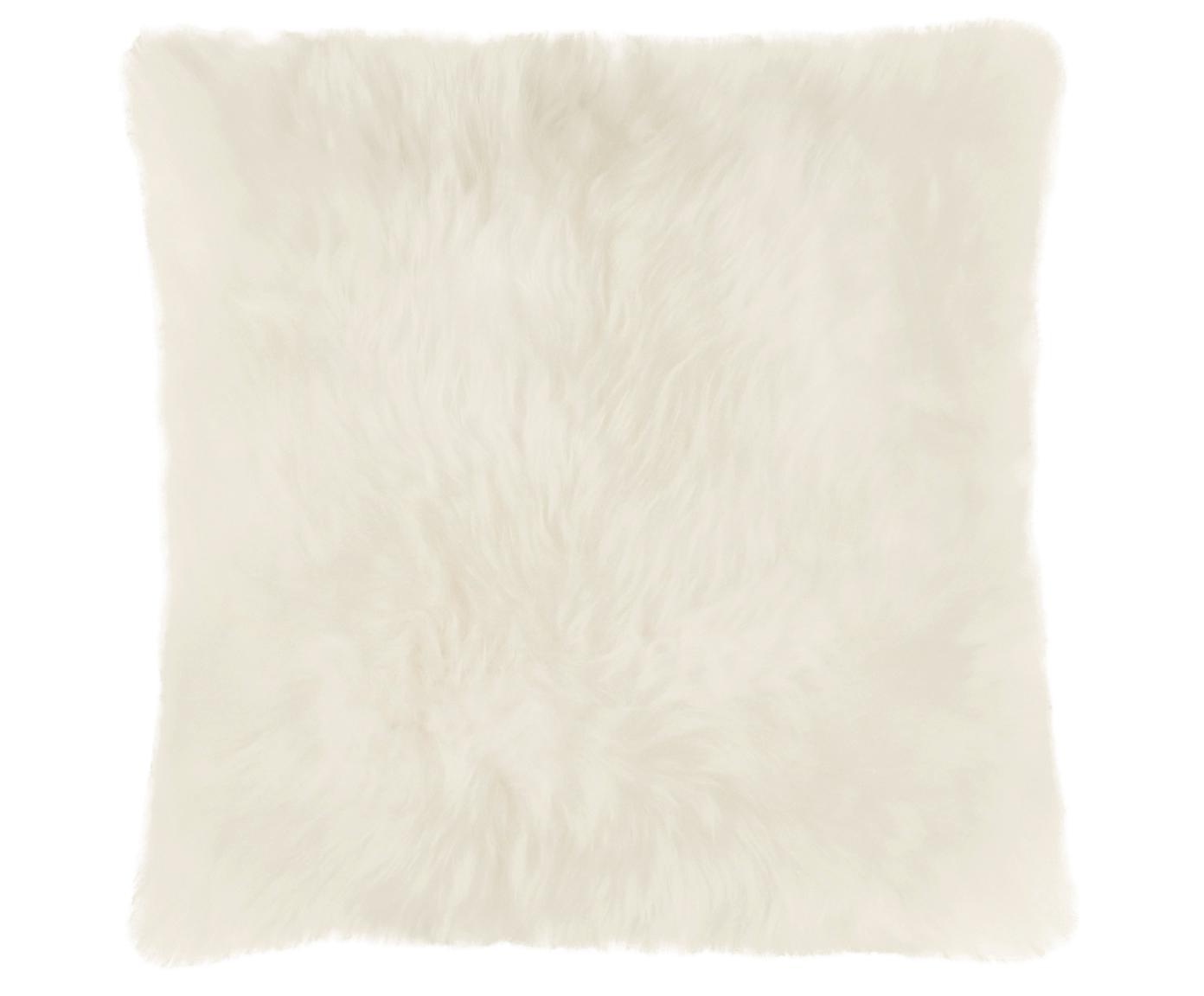 Funda de cojín de piel de oveja Oslo, Parte delantera: piel de oveja, Parte trasera: lino, Blanco crema, An 40 x L 40 cm