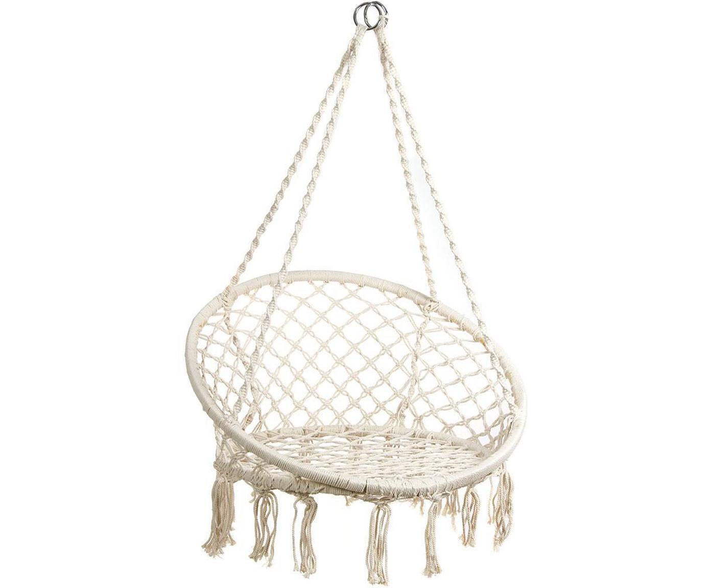 Silla colgante Nalita, Estructura: acero, Beige, Ø 82 x Al 111 cm