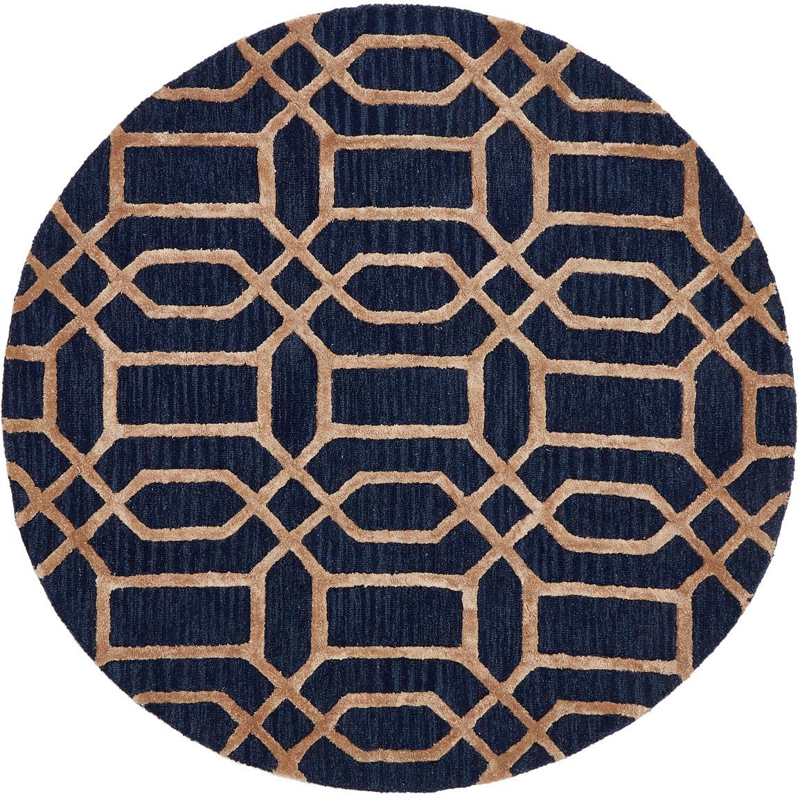 Alfombra redonda de lana Vegas, Parte superior: 80%lana, 20%viscosa Rev, Azul oscuro, marrón, Ø 150 cm (Tamaño M)