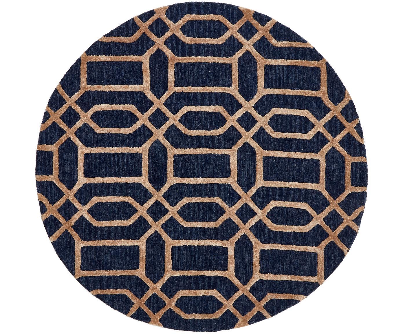 Tappeto rotondo in lana con motivo a rilievo Vegas, Retro: cotone, Blu scuro, marrone, Ø 150 cm (taglia M)